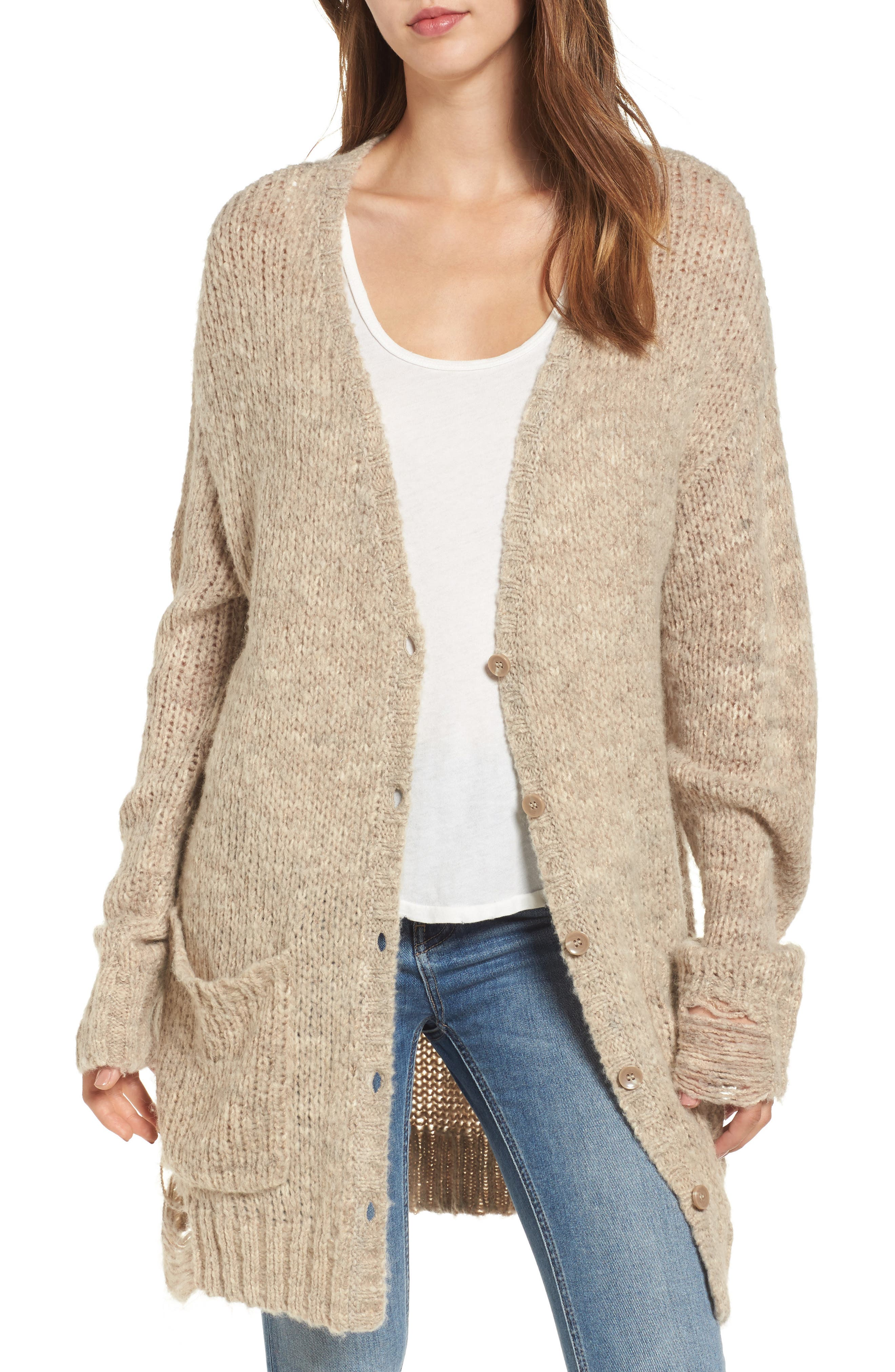 Shredded Cardigan,                         Main,                         color, Oatmeal