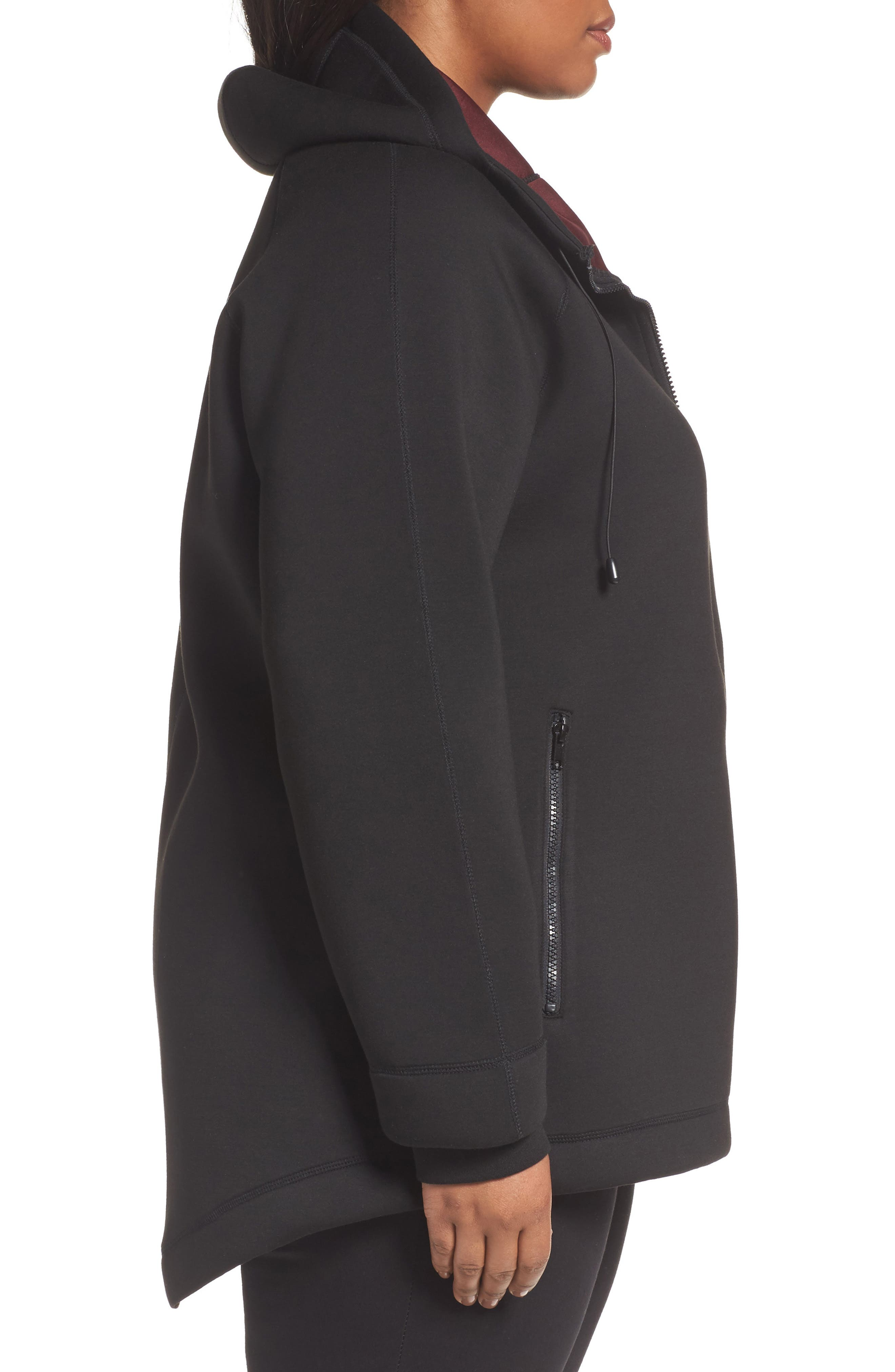 Mono Knit Drawstring Hooded Jacket,                             Alternate thumbnail 3, color,                             Black/ Burgundy