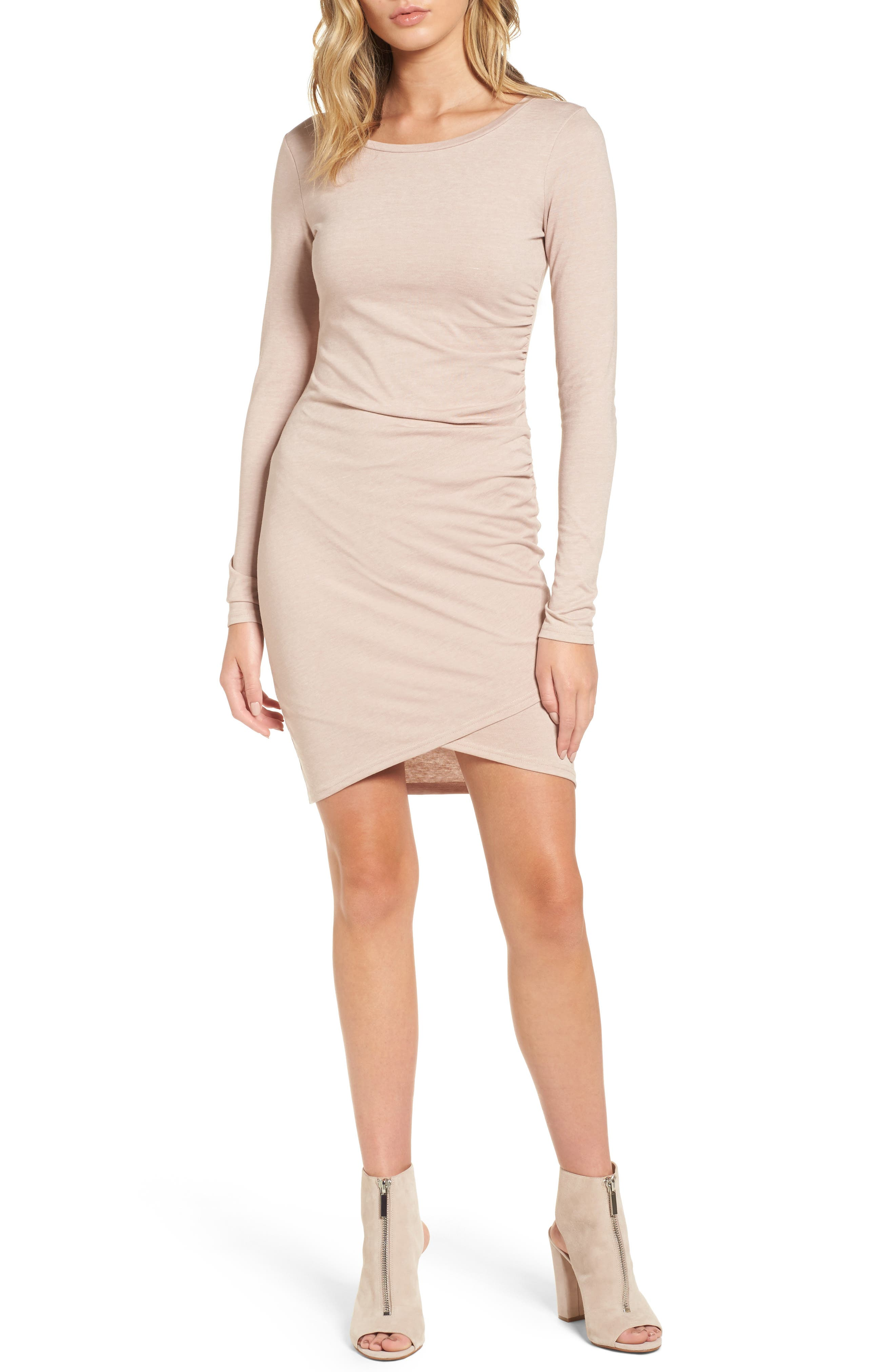 Main Image - Leith Ruched Long Sleeve Dress (Nordstrom Online Exclusive)