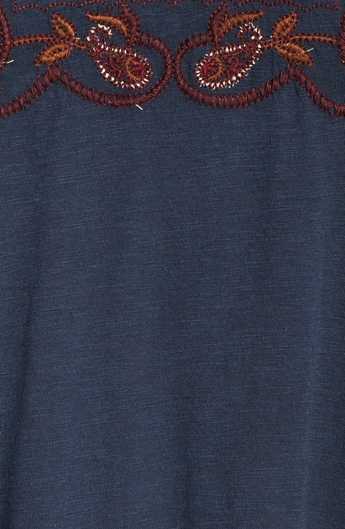 Lace Up Embroidered Peasant Top,                             Alternate thumbnail 5, color,                             Blueberry