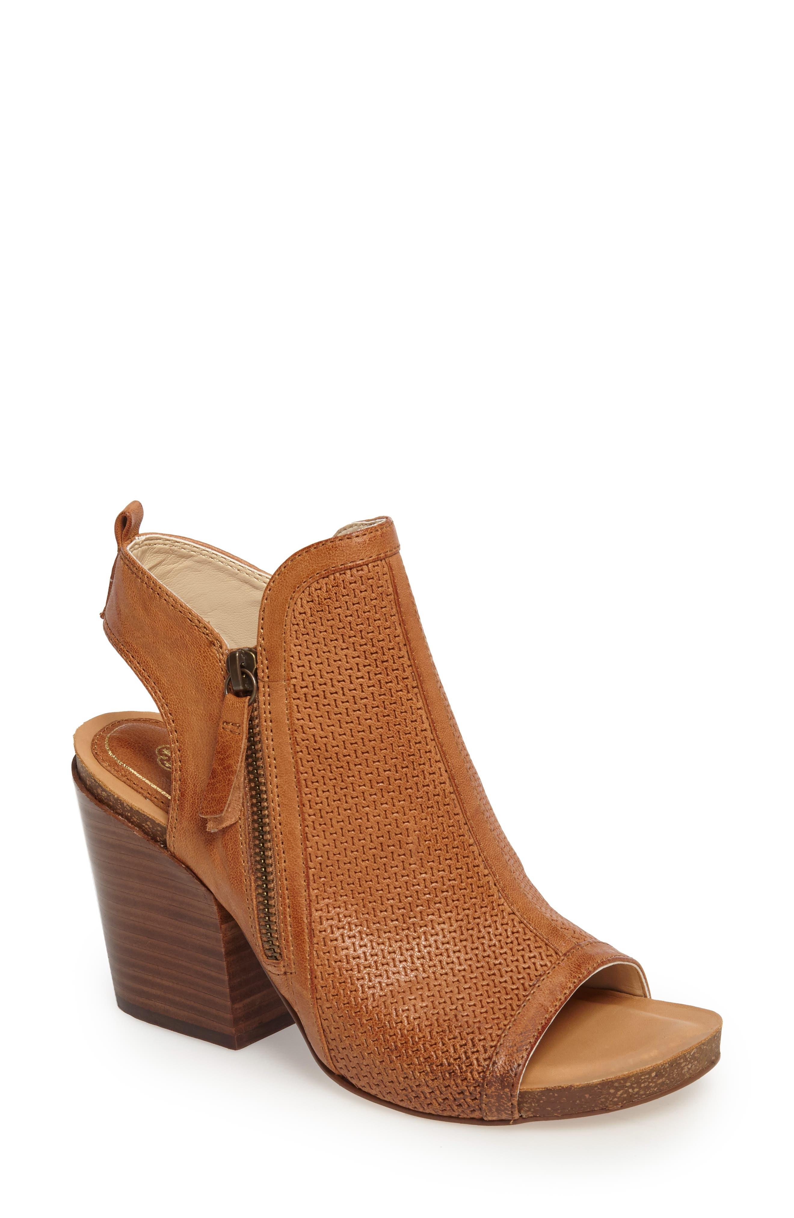 Iliana Open Toe Bootie,                             Main thumbnail 1, color,                             Luggage Leather