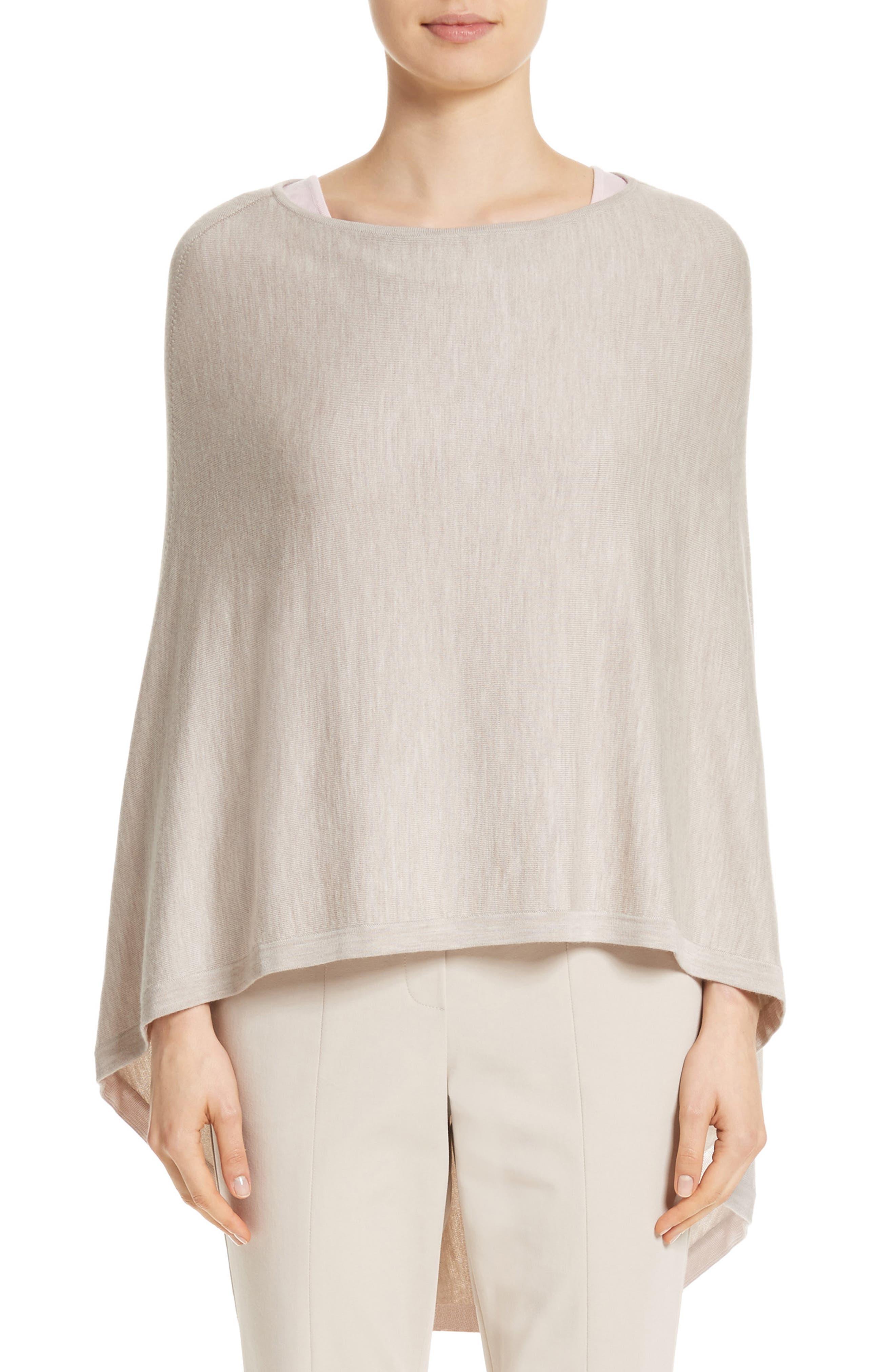 Rib Knit Poncho Sweater,                         Main,                         color, Stone Melange/Blush