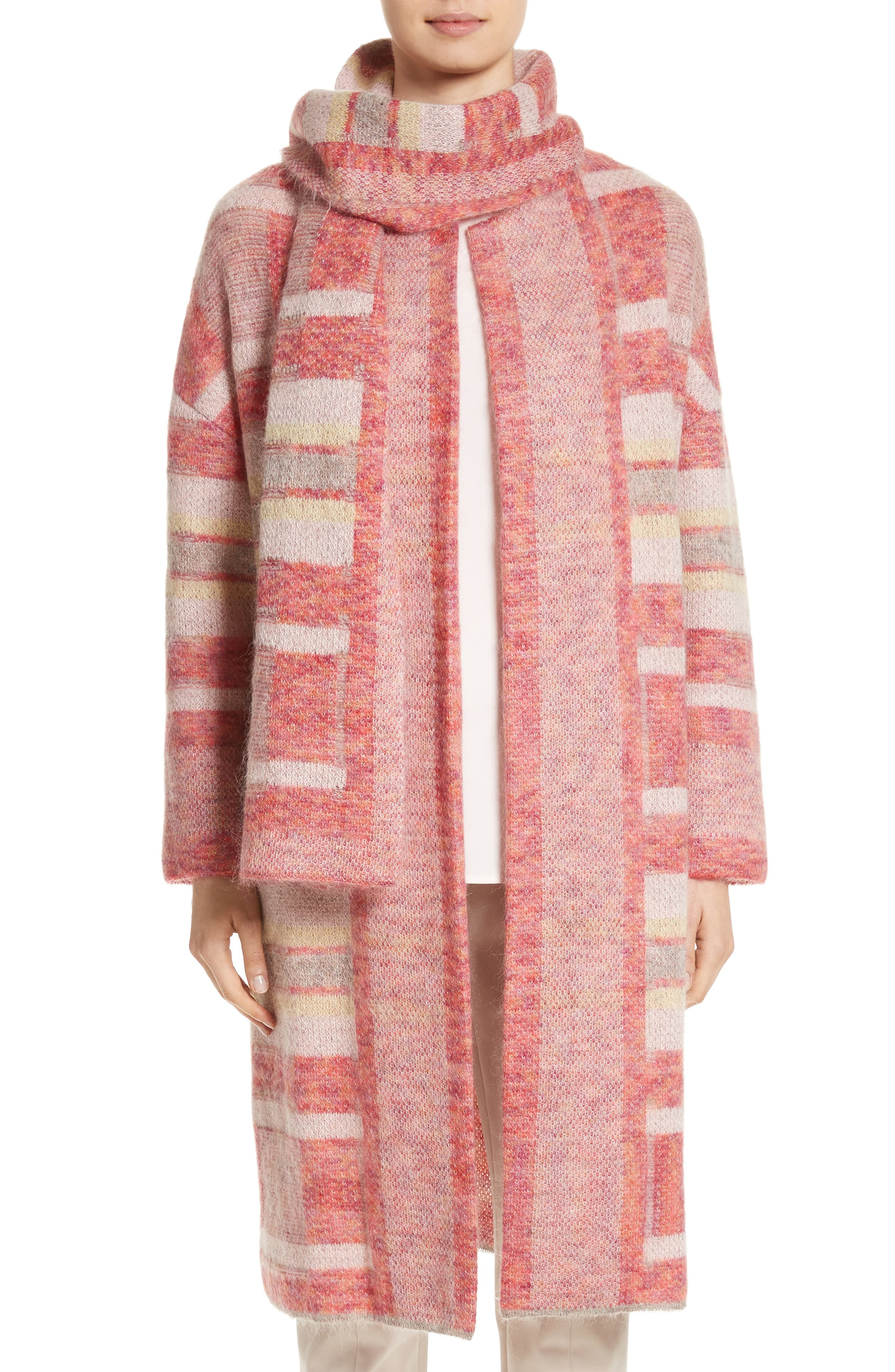 Lofty Knit Plaid Blanket Coat,                             Main thumbnail 1, color,                             Bright Coral Multi