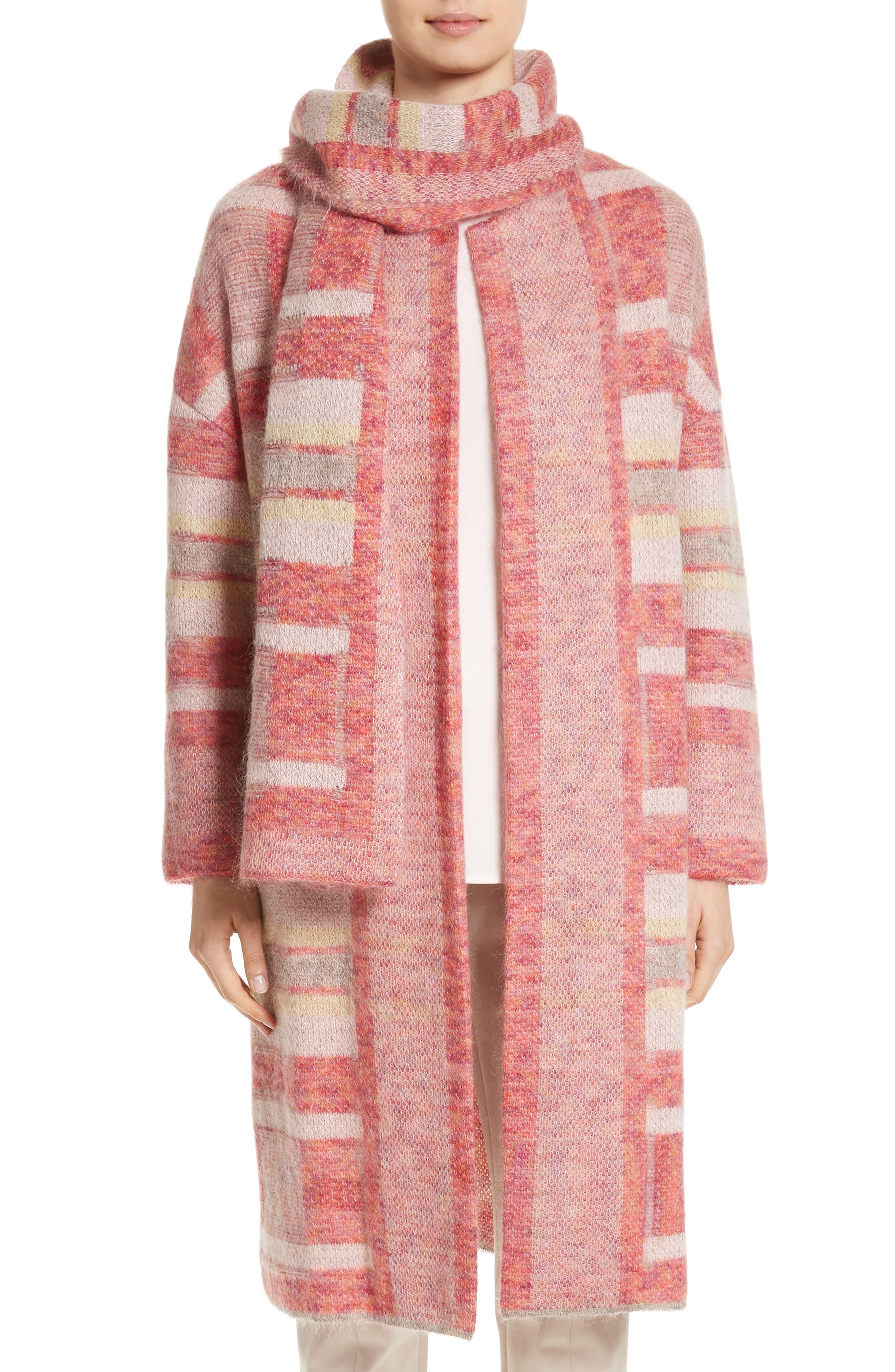 Lofty Knit Plaid Blanket Coat,                         Main,                         color, Bright Coral Multi