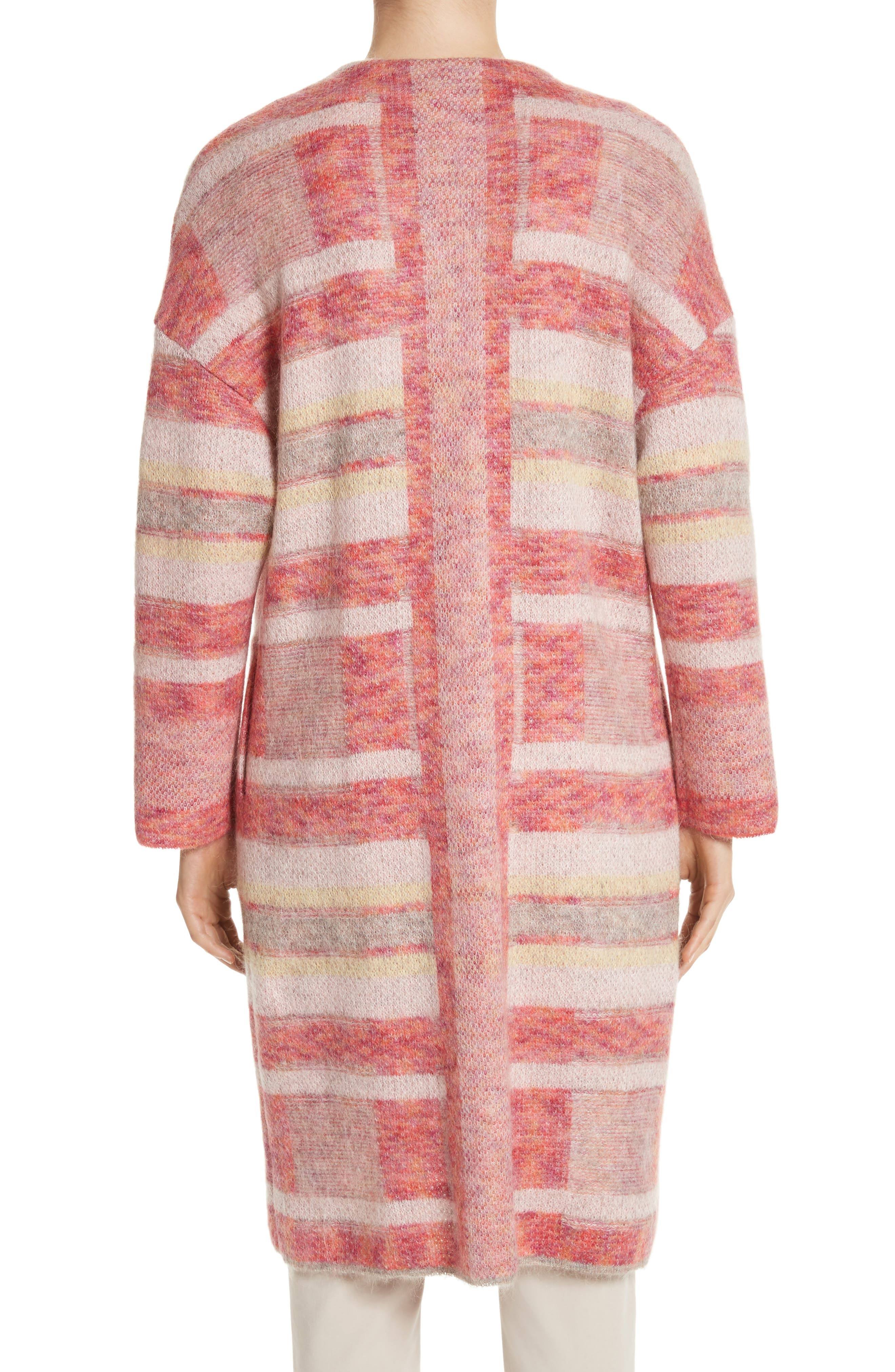 Lofty Knit Plaid Blanket Coat,                             Alternate thumbnail 2, color,                             Bright Coral Multi