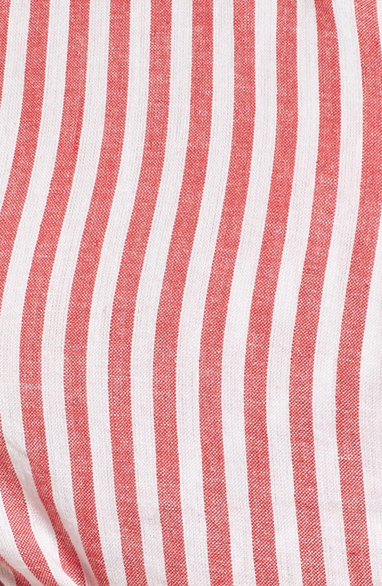L'Academie Reckless One-Shoulder Wrap Blouse,                             Alternate thumbnail 5, color,                             Red/ White Stripe