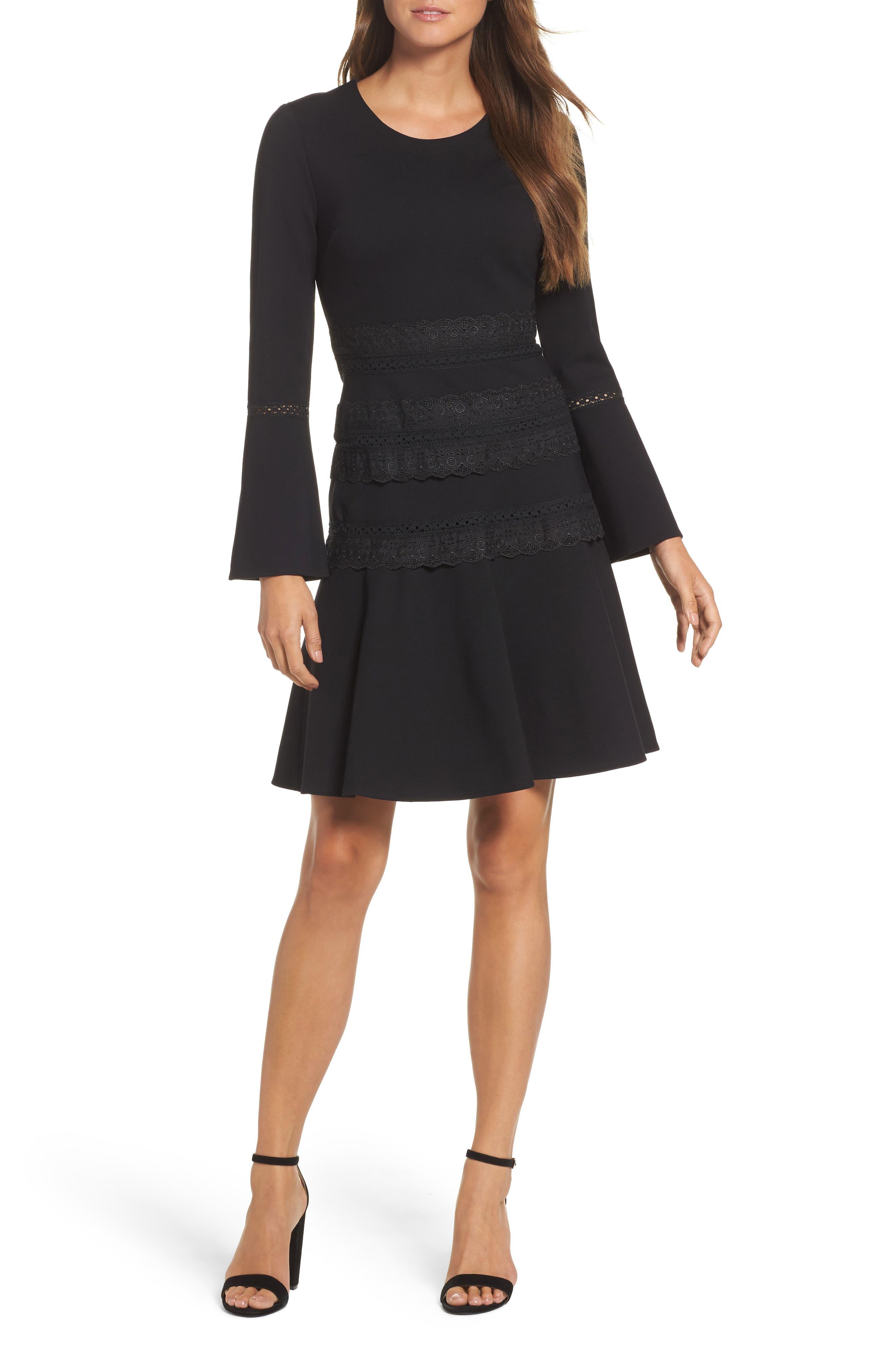 Preslie Double Knit A-Line Dress,                             Main thumbnail 1, color,                             Black