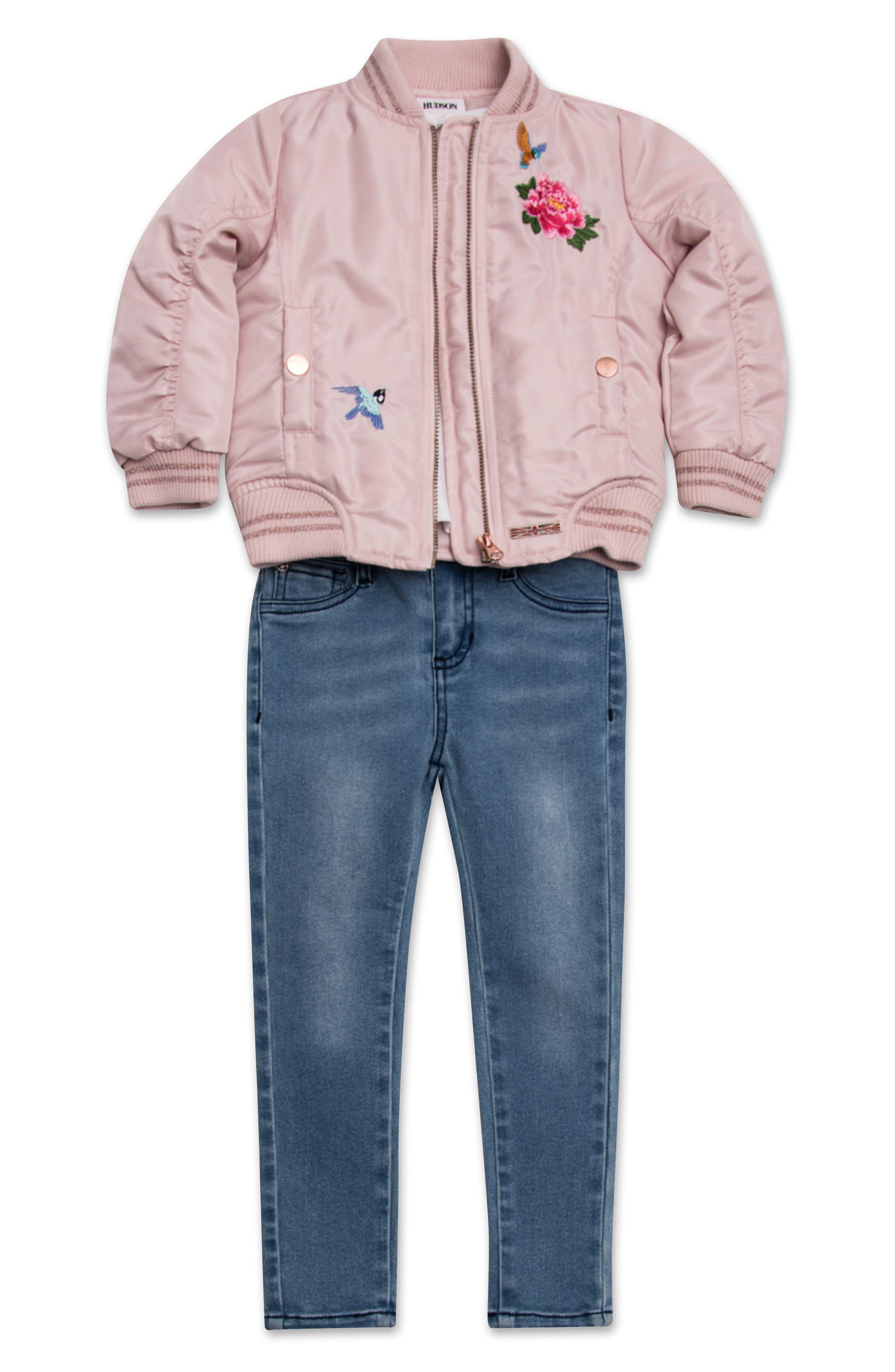 Hudson Kids Embroidered Bomber Jacket, Tee & Jeggings Set (Baby Girls)