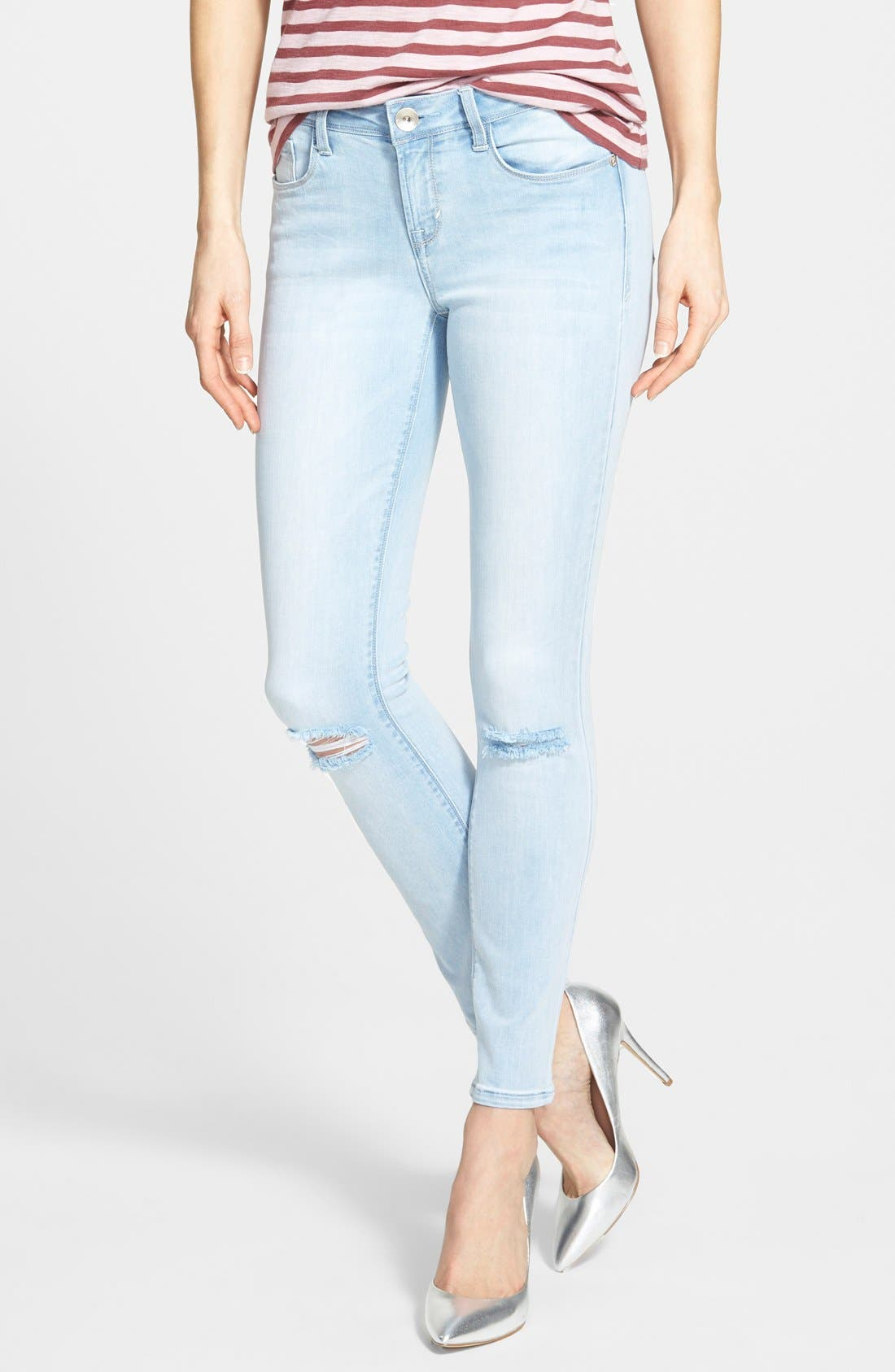 Main Image - kensie 'Ankle Biter' Destroyed Skinny Jeans (Like a Rolling Stone)