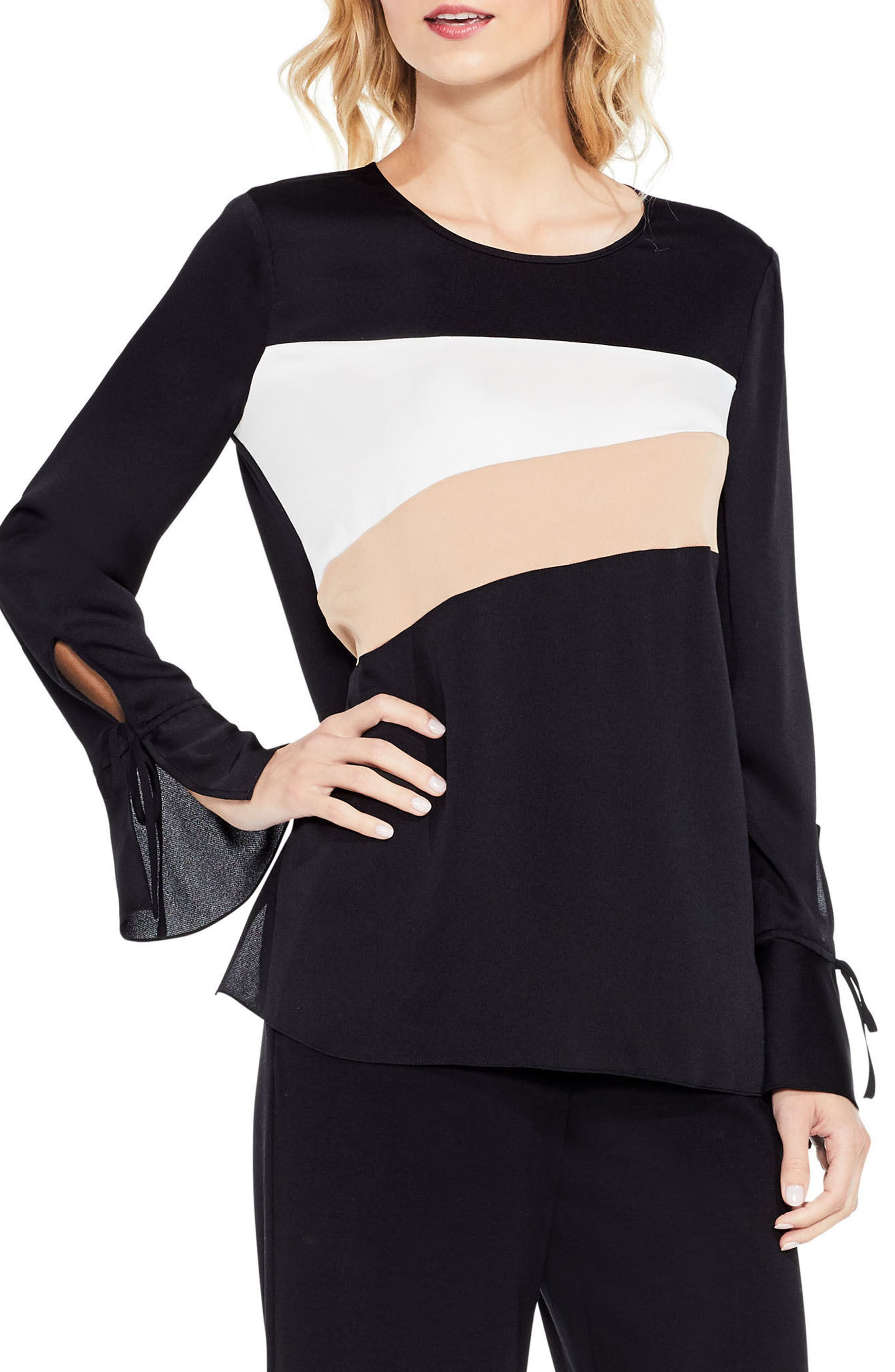 Bell Sleeve Colorblock Top,                         Main,                         color, Antique White
