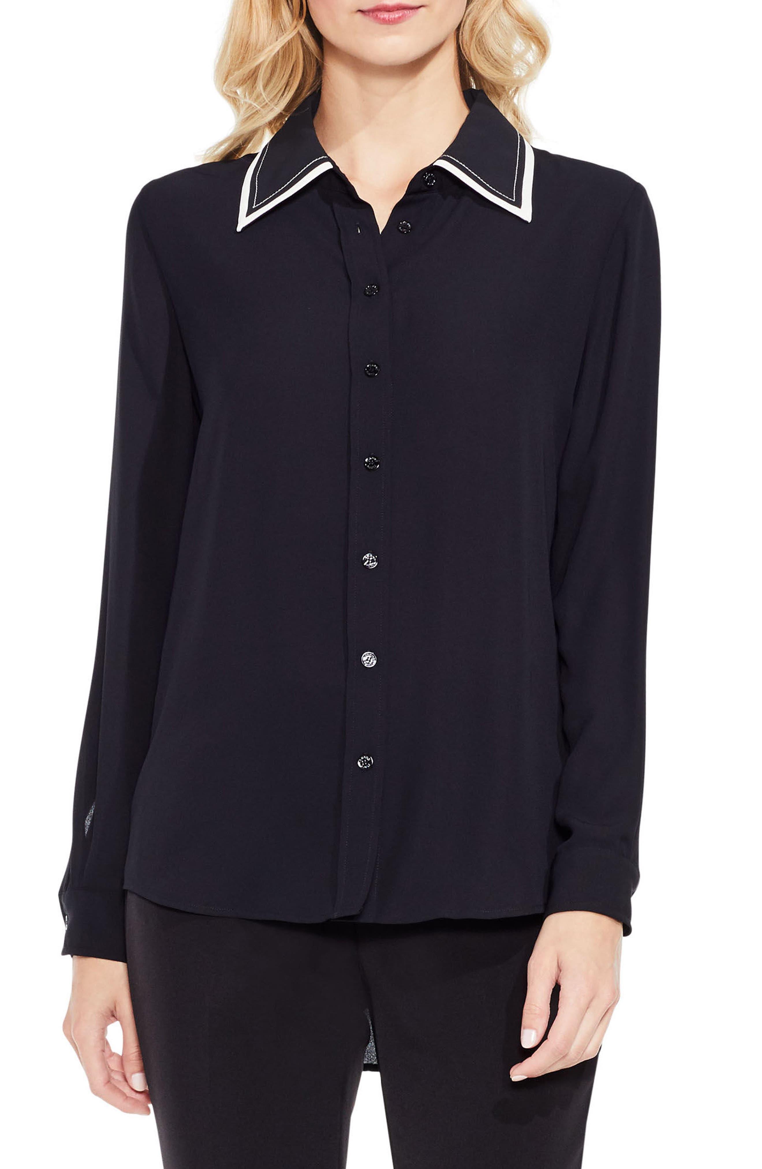 Long Sleeve Button Down Blouse,                         Main,                         color, Rich Black