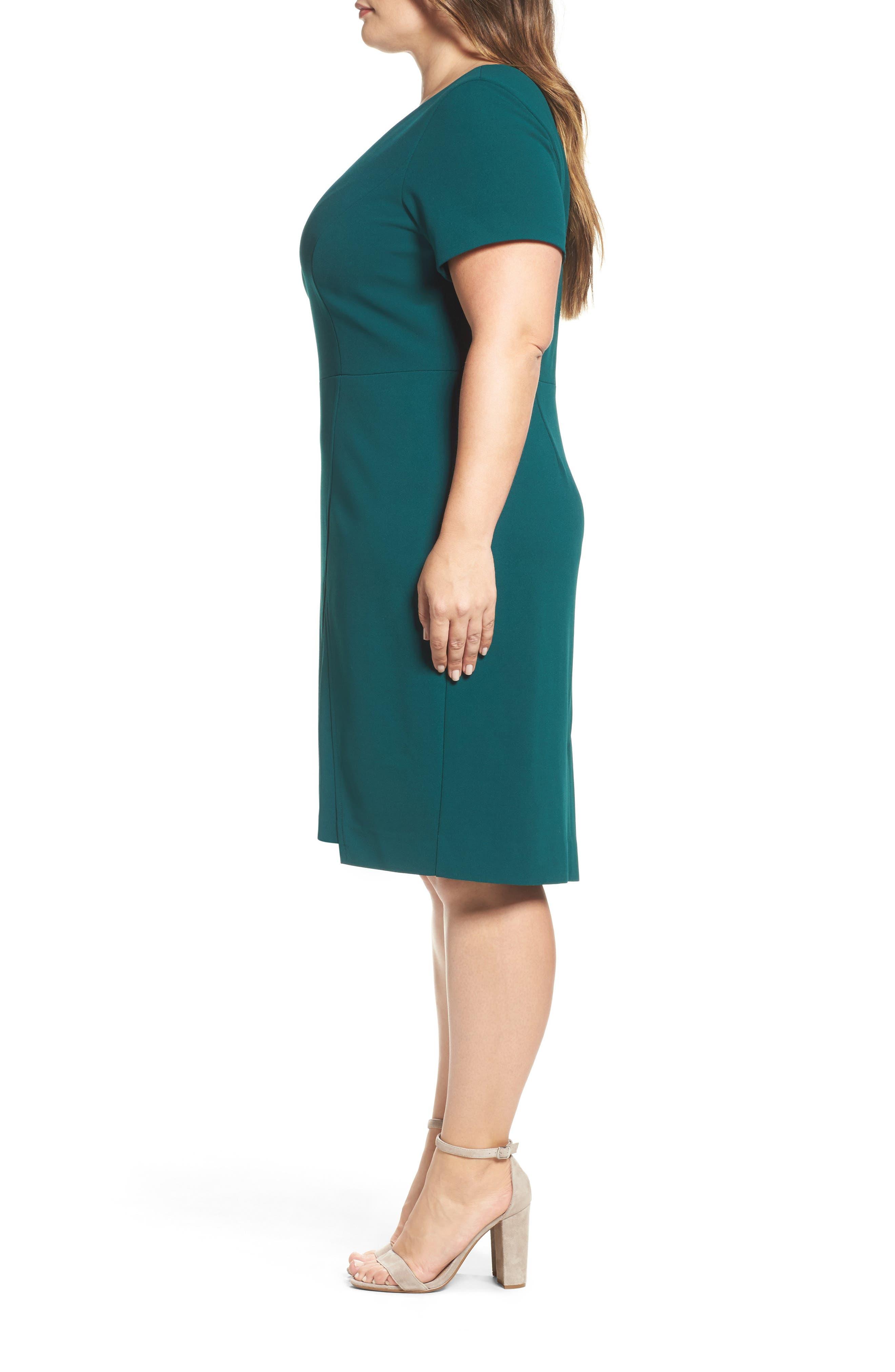 Scuba Crepe Sheath Dress,                             Alternate thumbnail 3, color,                             Dark Green