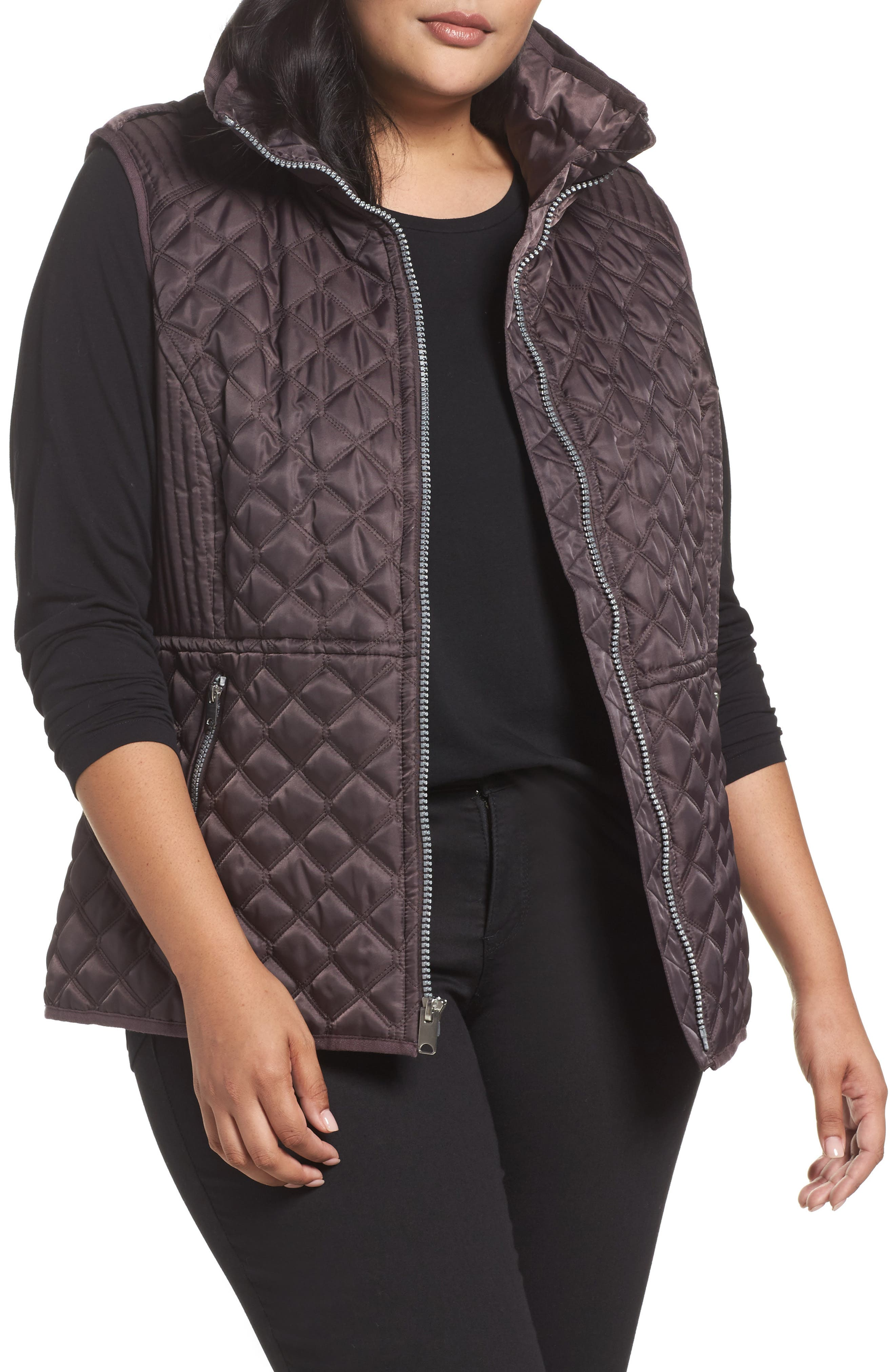 Caitlin Quilted Vest,                         Main,                         color, Gunmetal