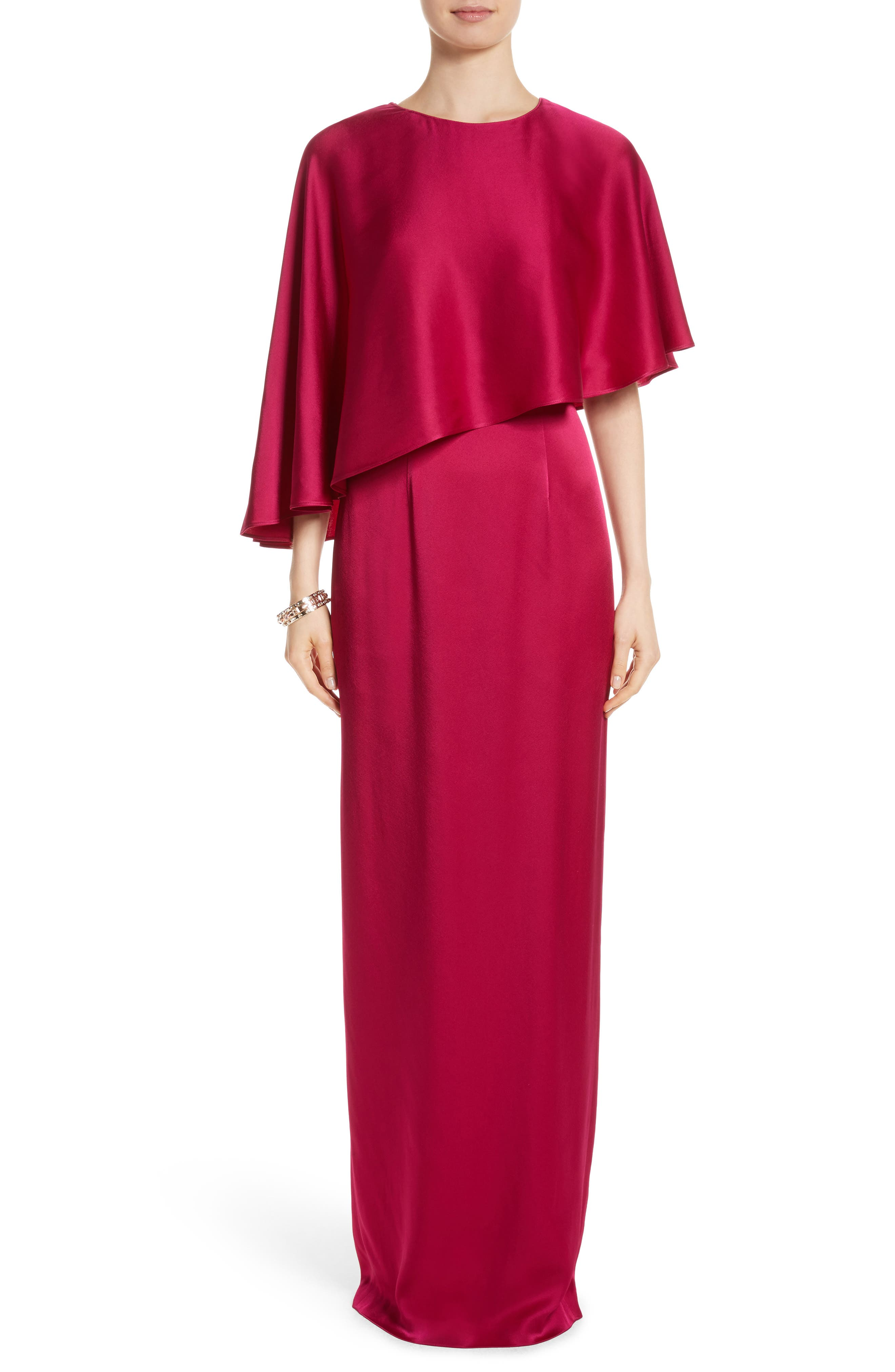 Main Image - St. John Evening Popover Cape Liquid Crepe Column Gown