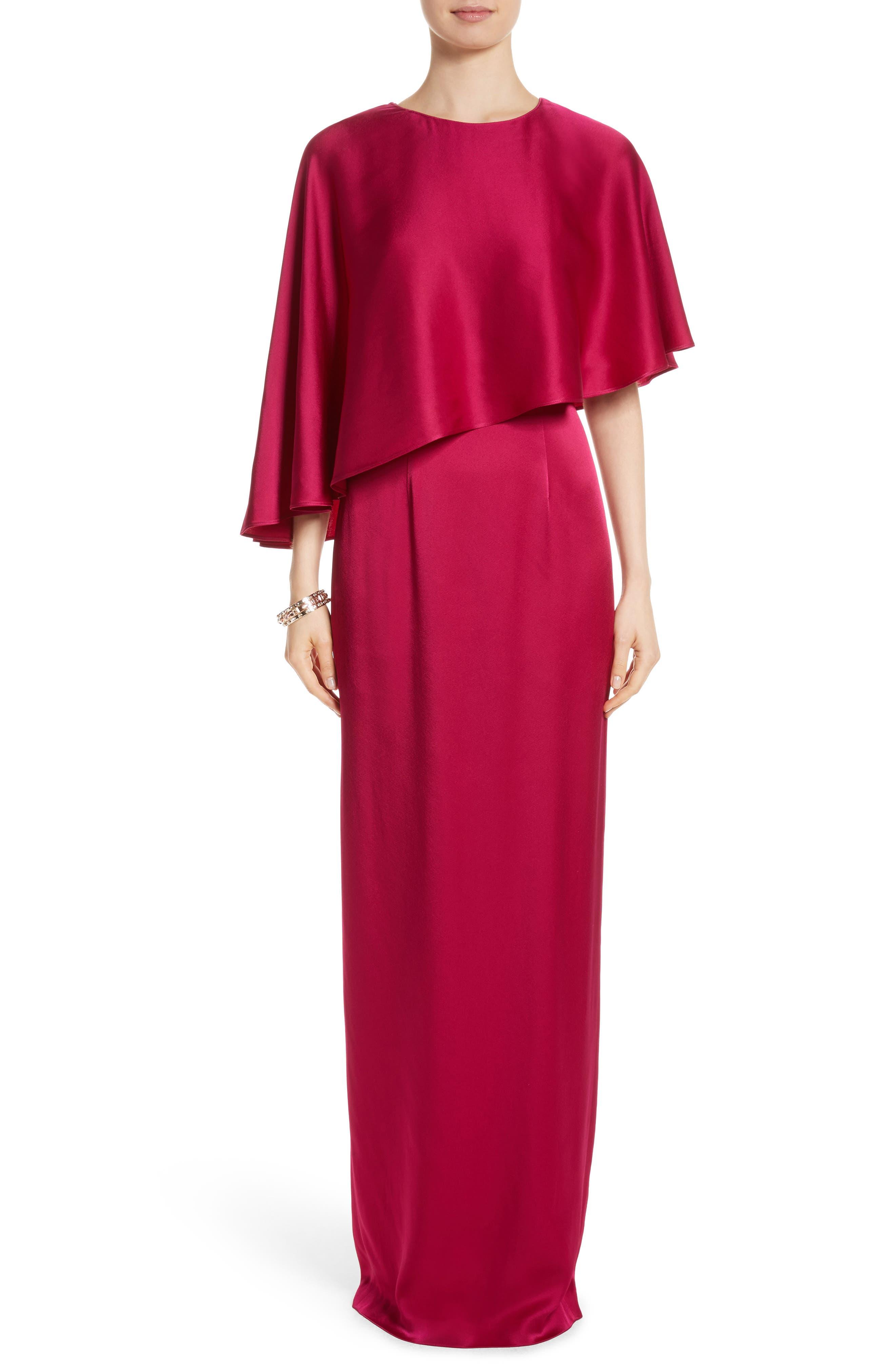 Popover Cape Liquid Crepe Column Gown,                         Main,                         color, Raspberry