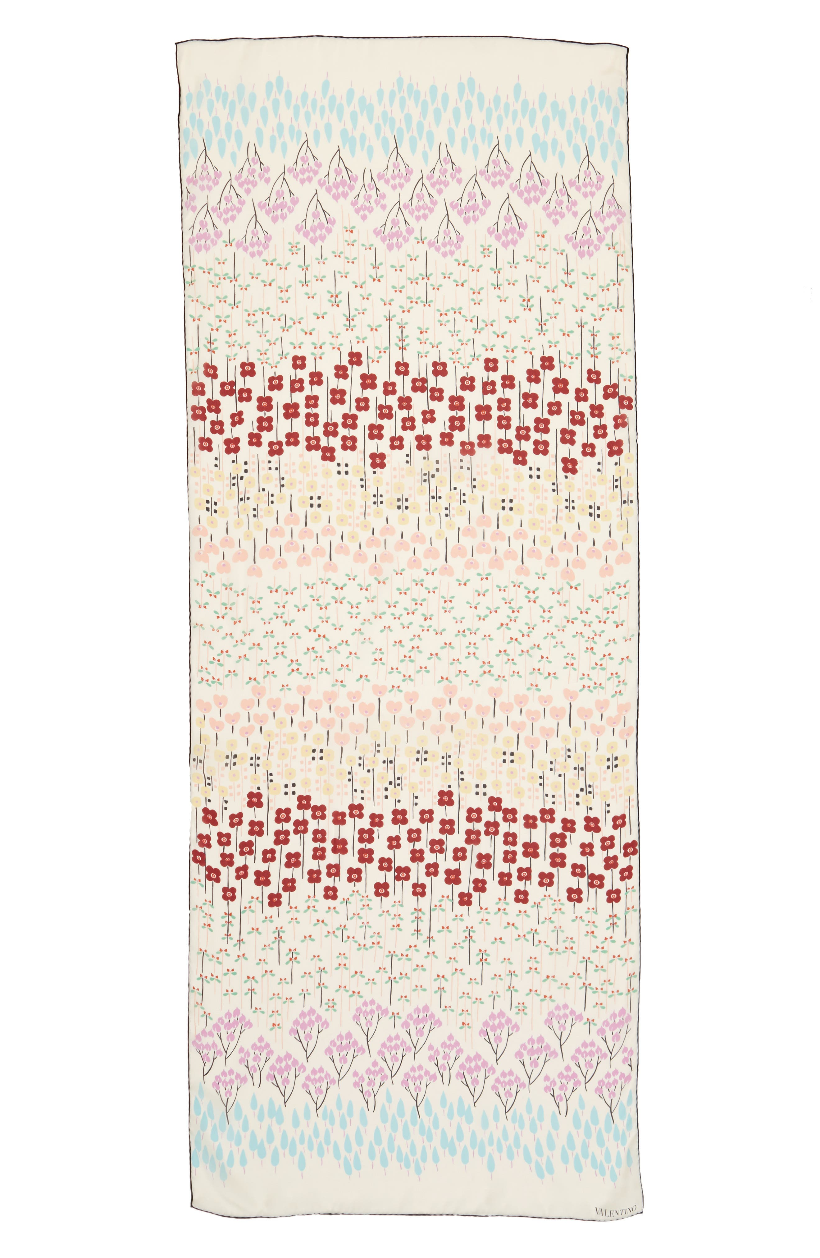 Alternate Image 1 Selected - Valentino Flower Rows Silk Scarf