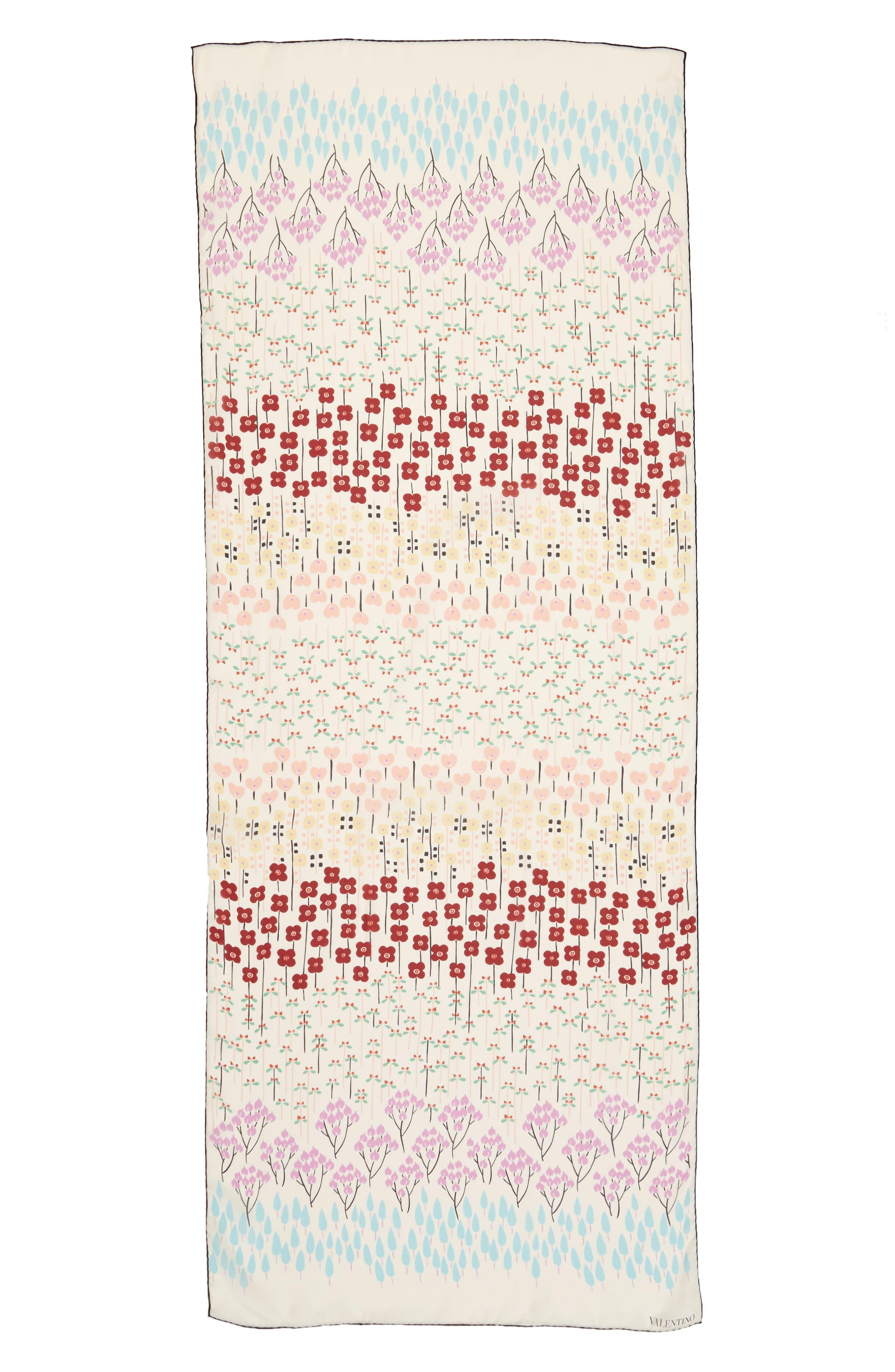 Valentino Flower Rows Silk Scarf