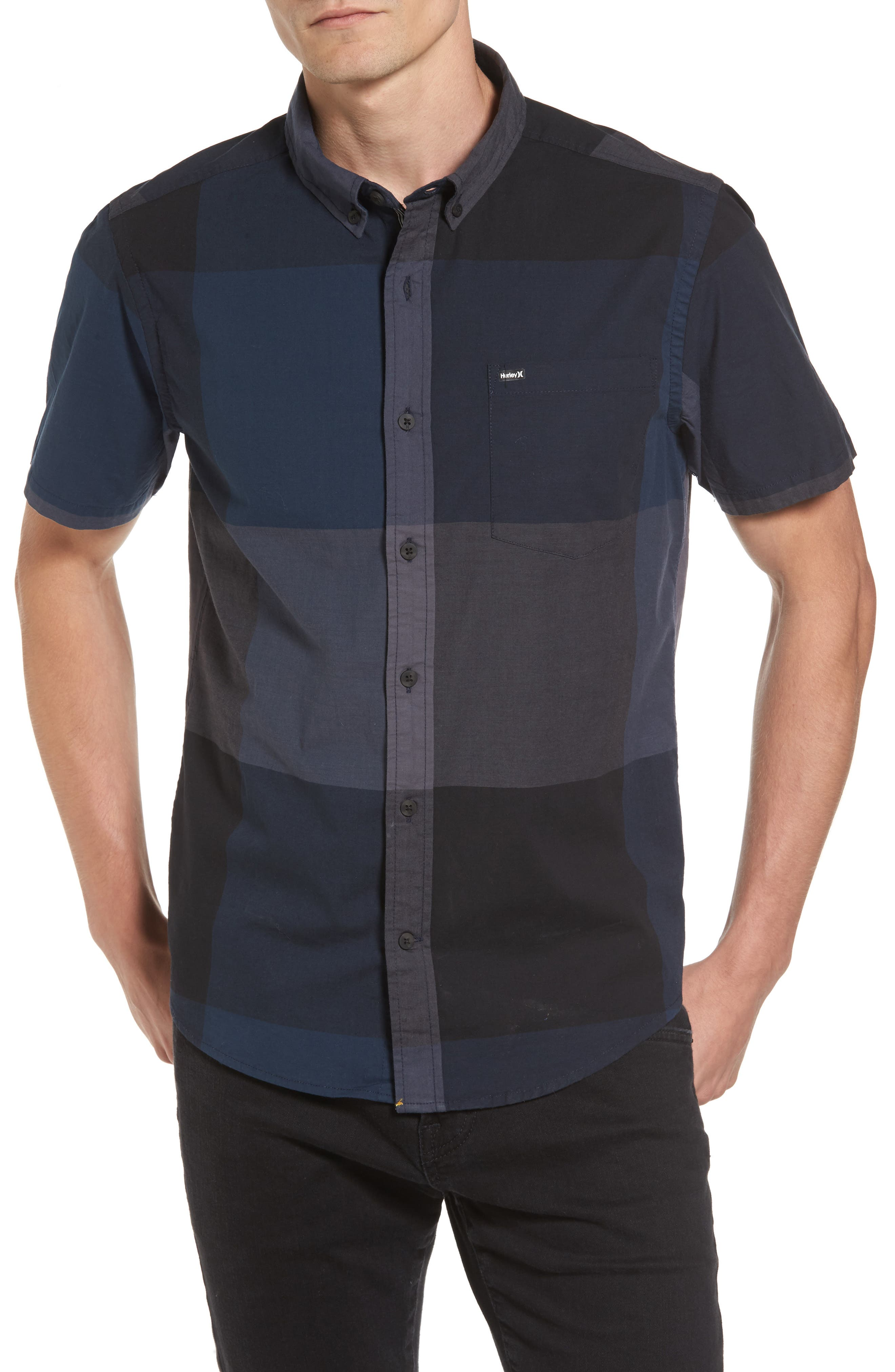 Thompson Print Woven Shirt,                         Main,                         color, Armory Navy
