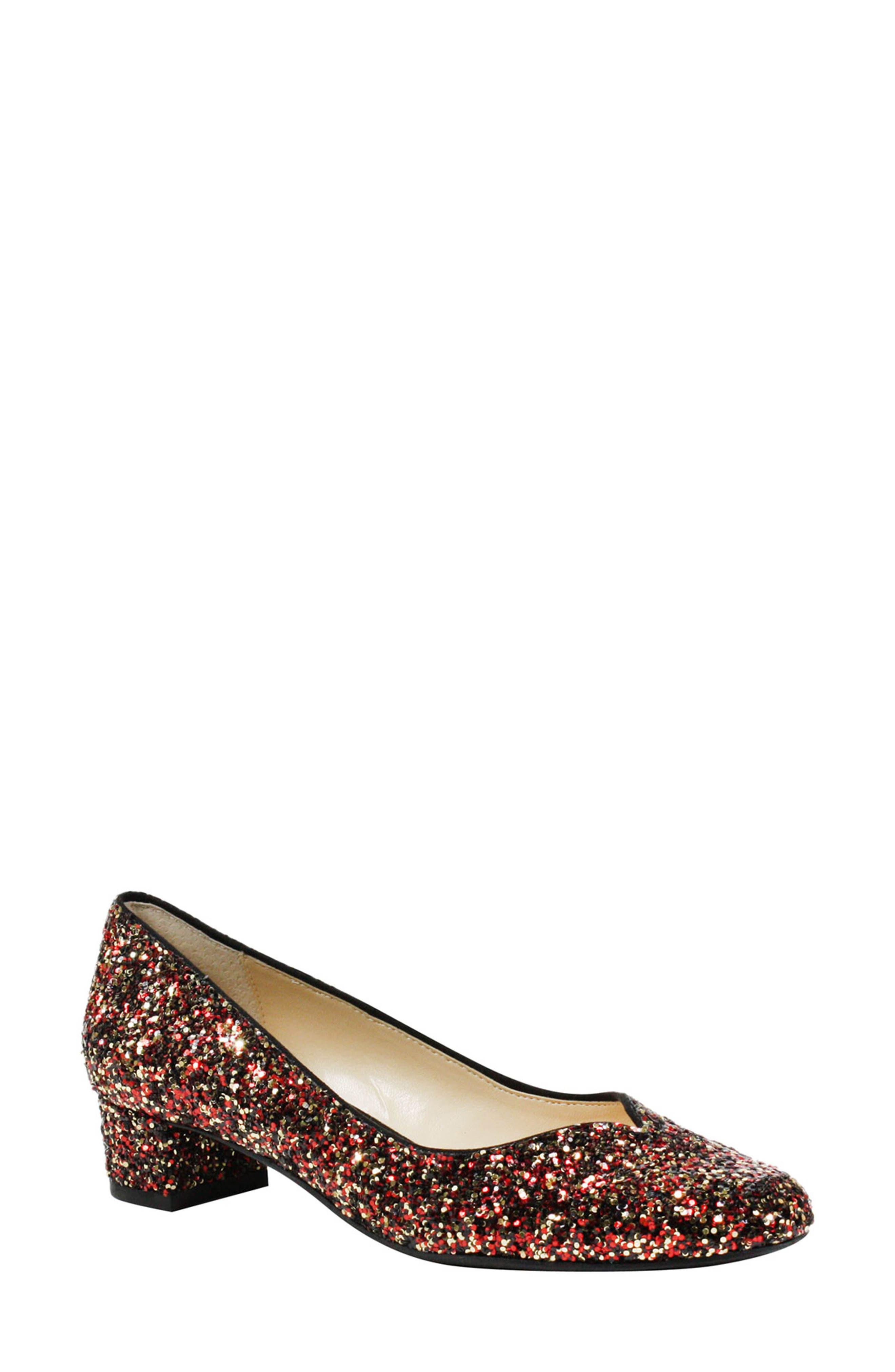 'Bambalina' Block Heel Glitter Pump,                             Main thumbnail 1, color,                             Burgundy Glitter Fabric