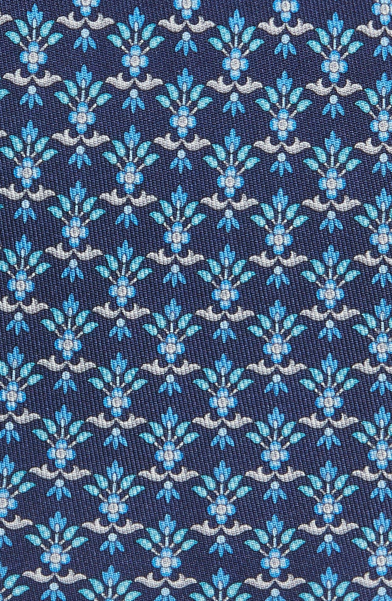 Geometric Silk Tie,                             Alternate thumbnail 2, color,                             Marine Blue