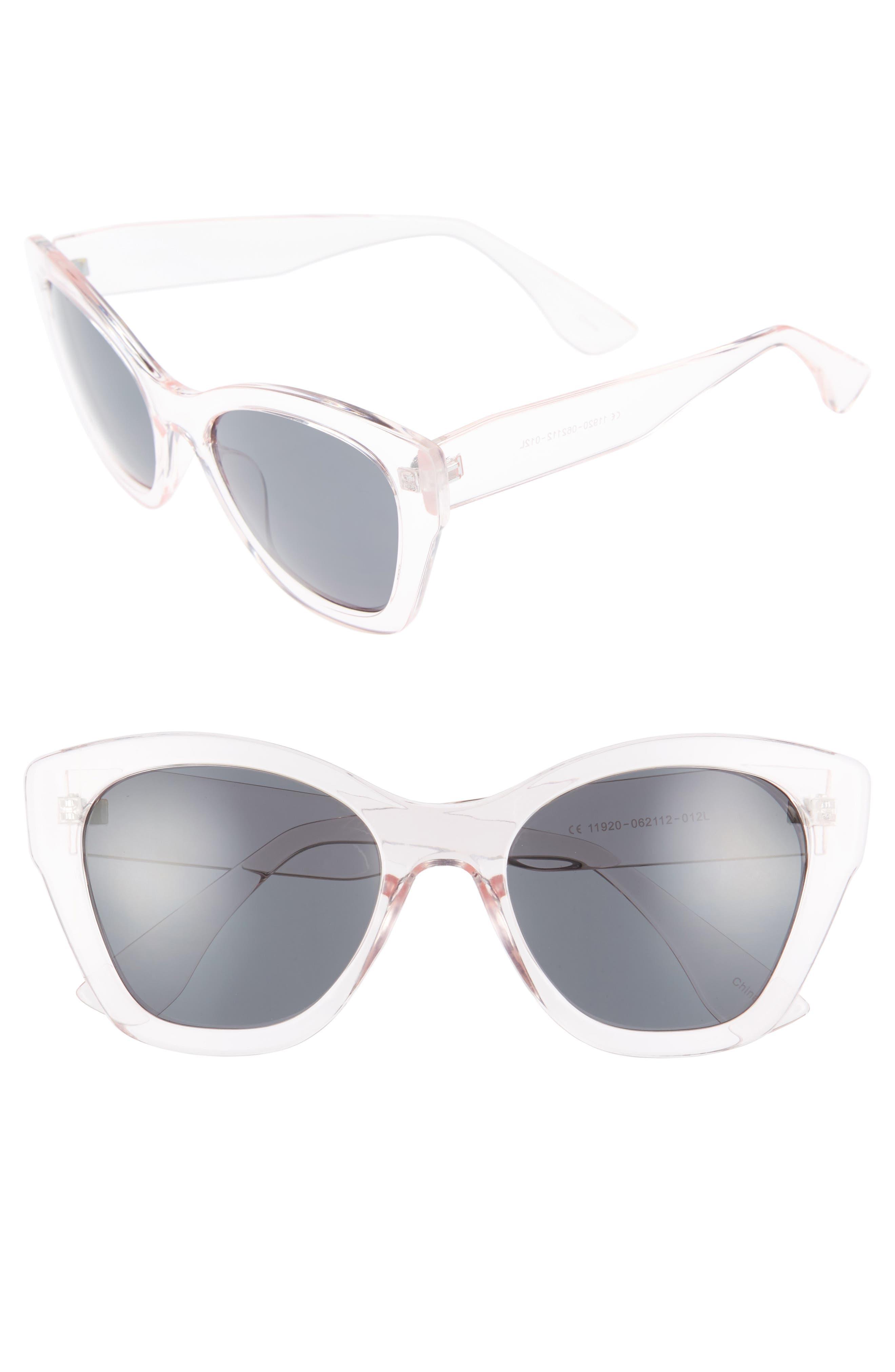 55mm Square Sunglasses,                             Main thumbnail 1, color,                             Blush