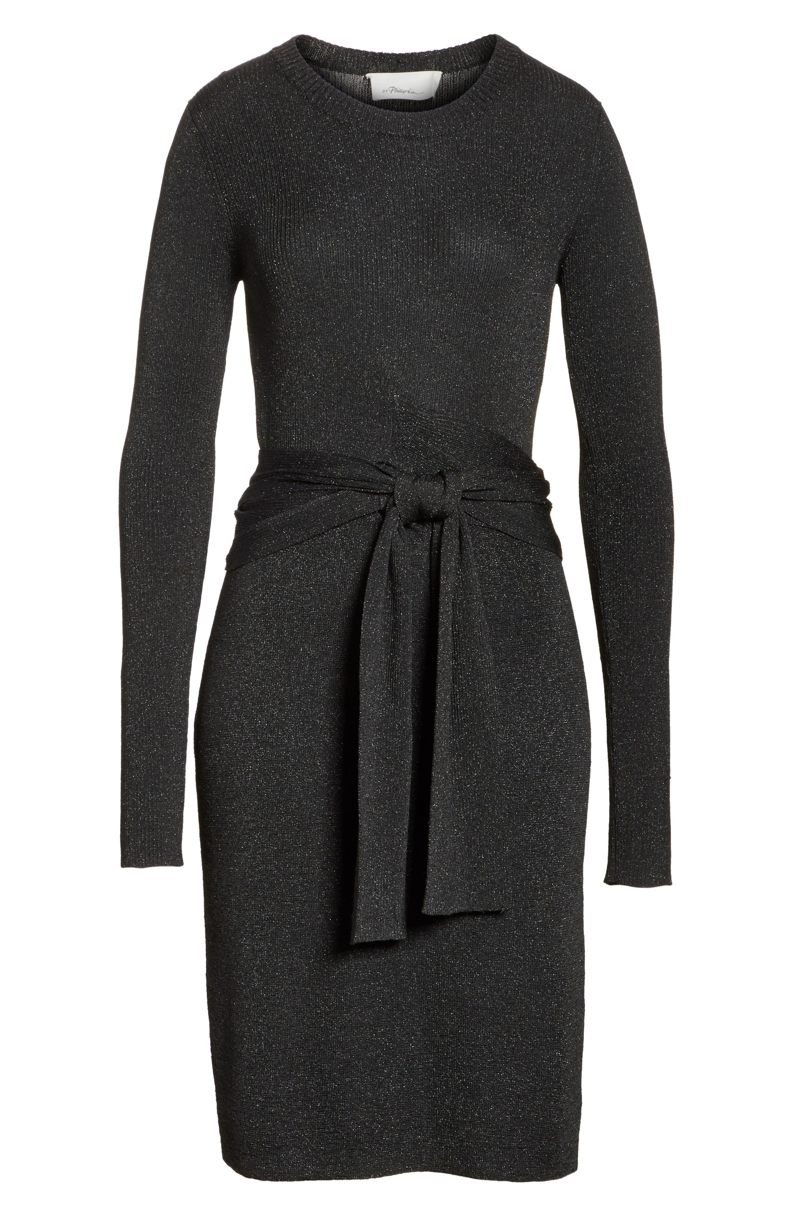 Metallic Tie Waist Dress,                             Alternate thumbnail 6, color,                             Black