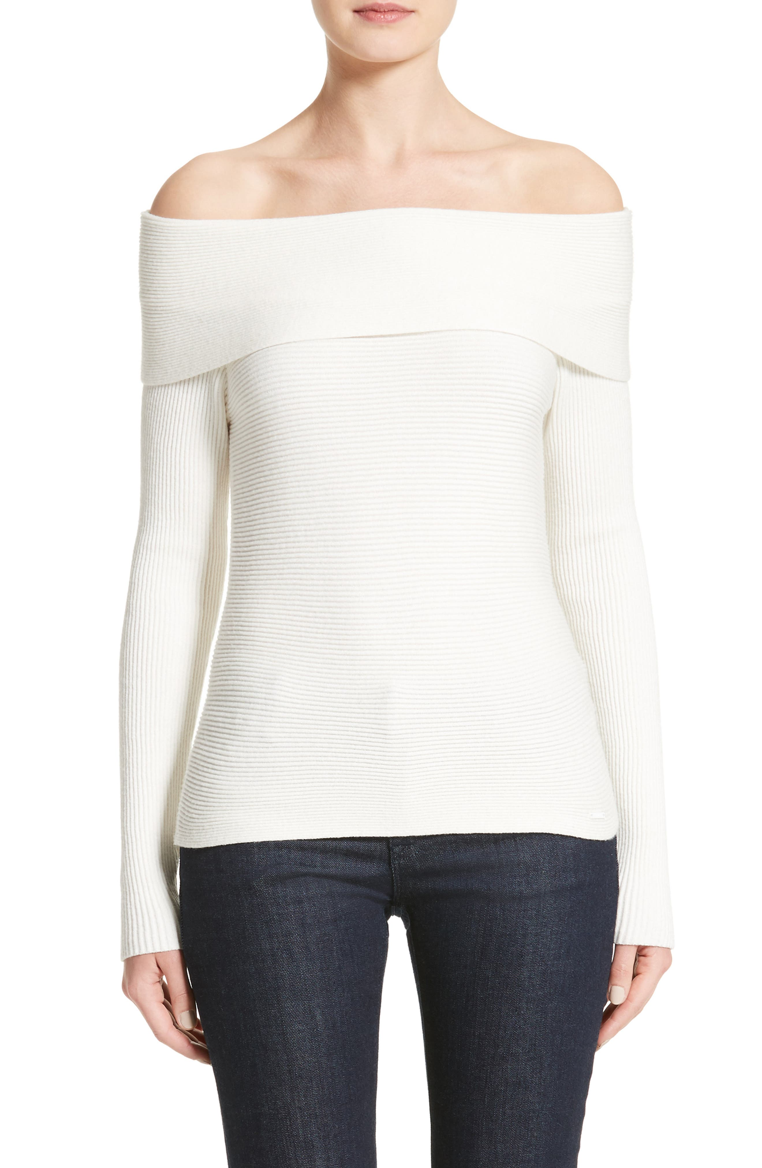 Off the Shoulder Sweater,                             Main thumbnail 1, color,                             Off White