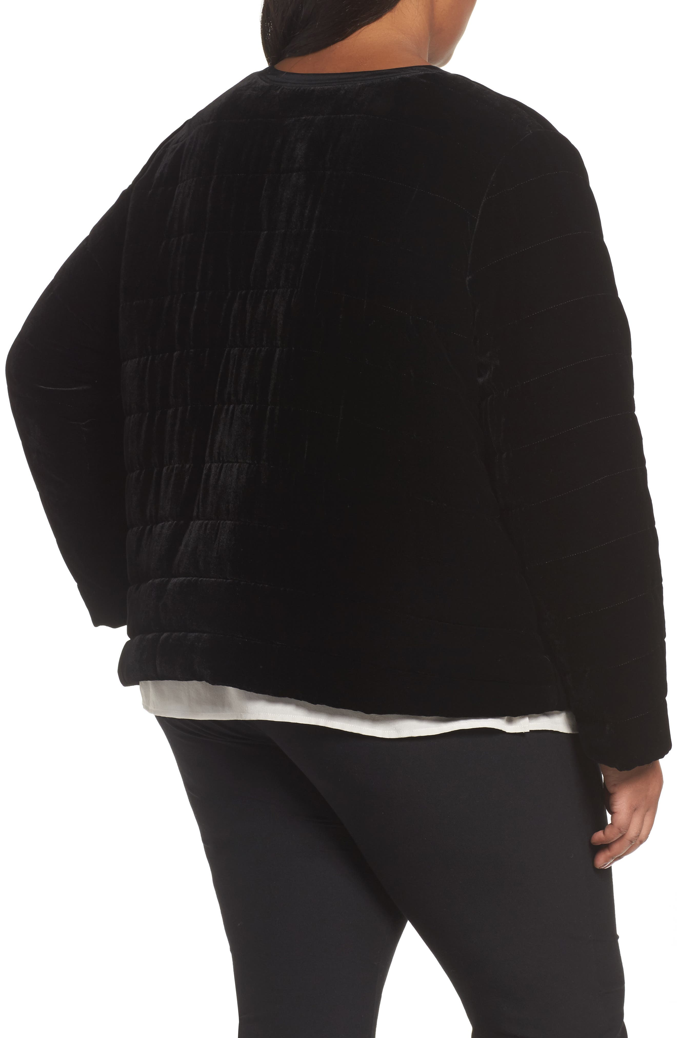 Quilted Velvet Jacket,                             Alternate thumbnail 2, color,                             Black