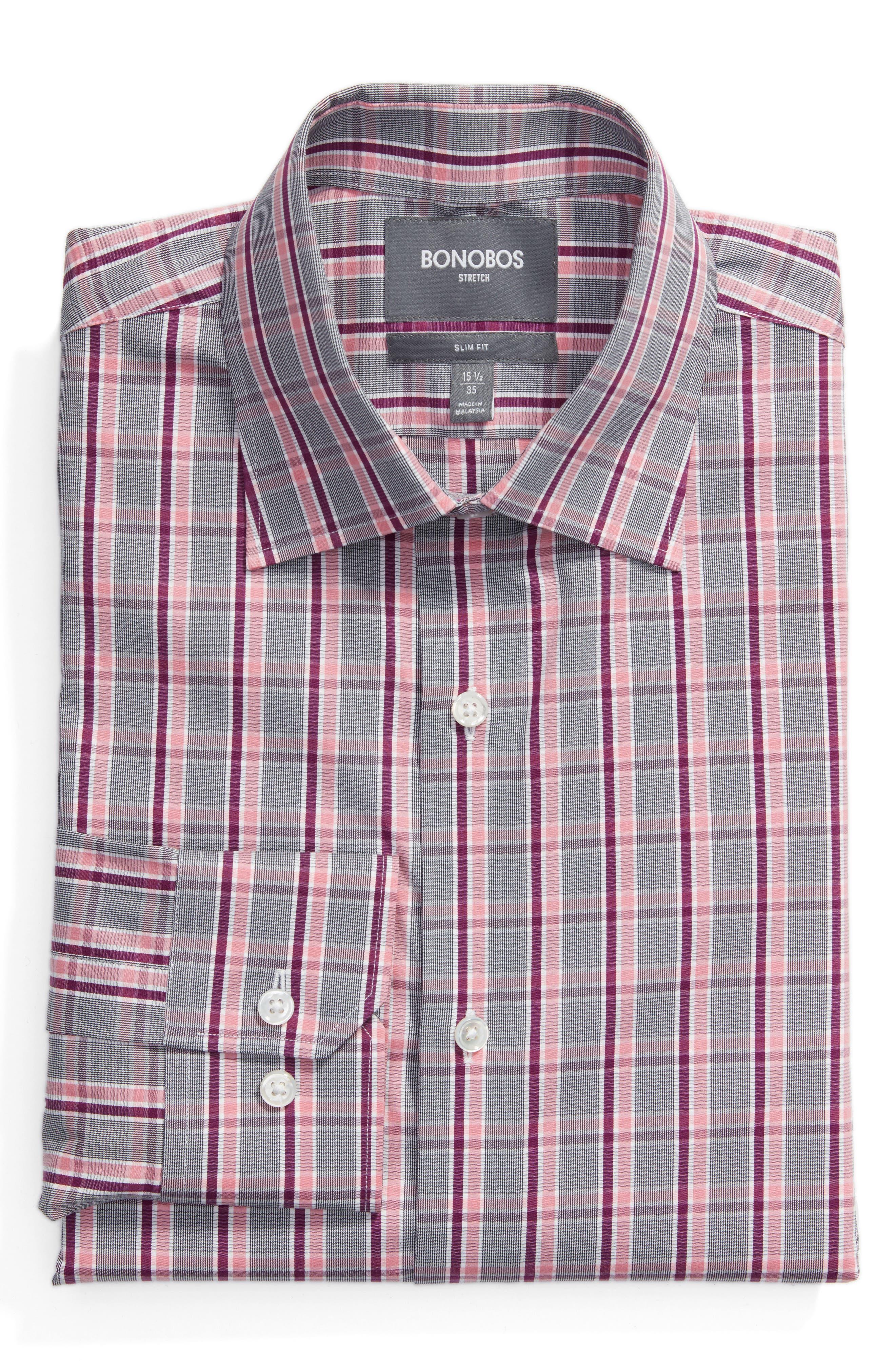 Slim Fit Plaid Dress Shirt,                         Main,                         color, Red
