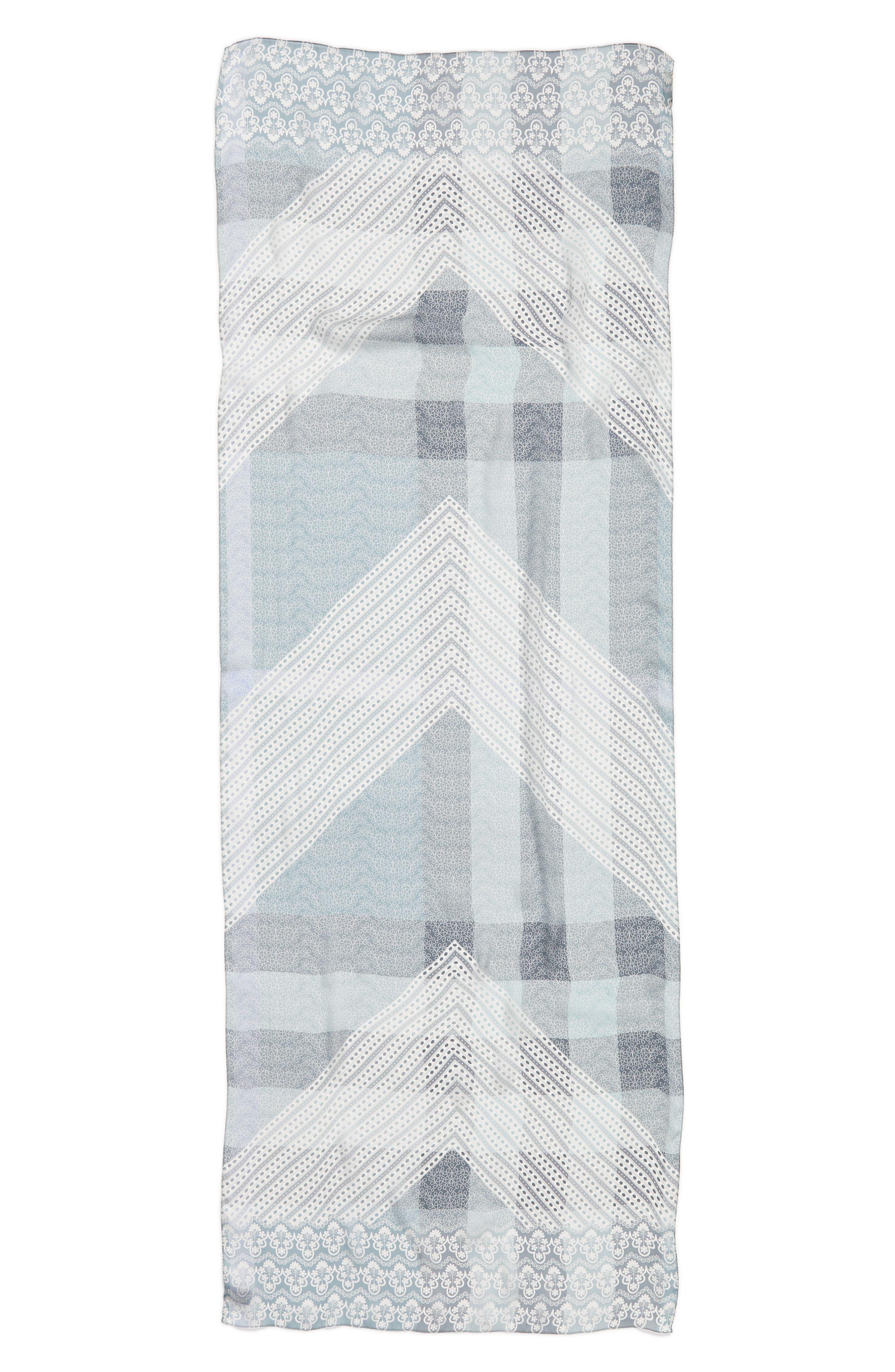 Ultra Mega Lace Silk Scarf,                             Alternate thumbnail 3, color,                             Slate Blue