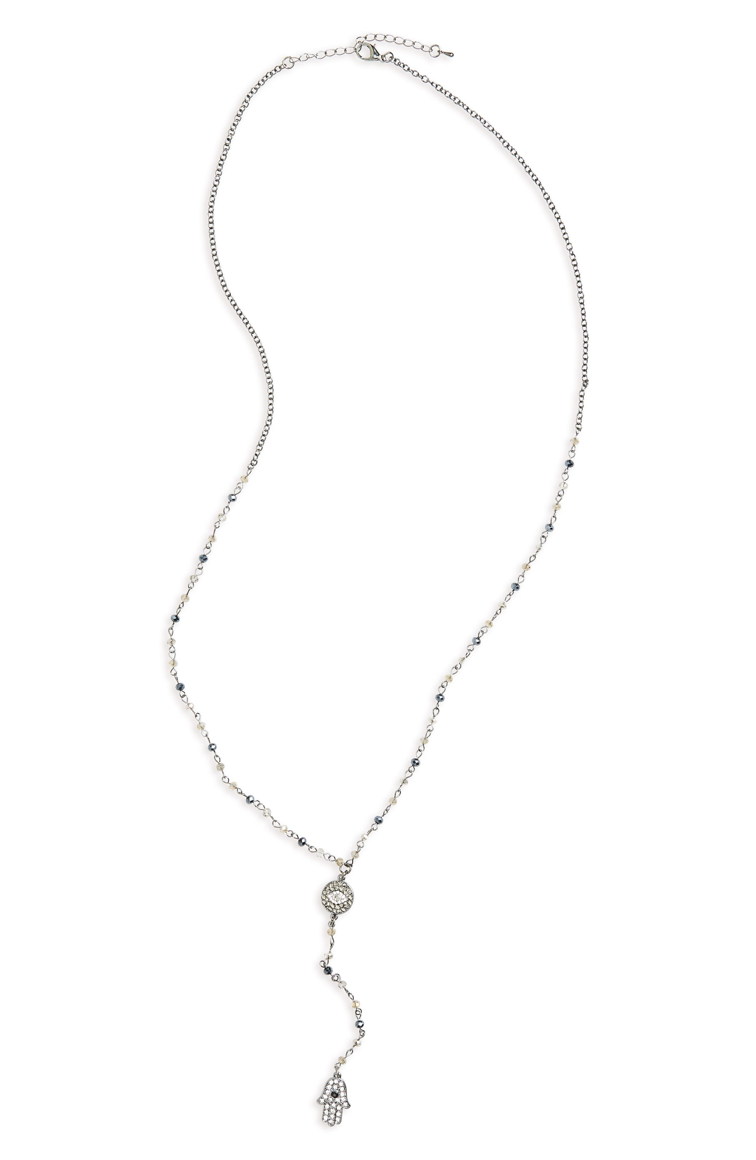 Long Y-Necklace,                             Main thumbnail 1, color,                             Grey