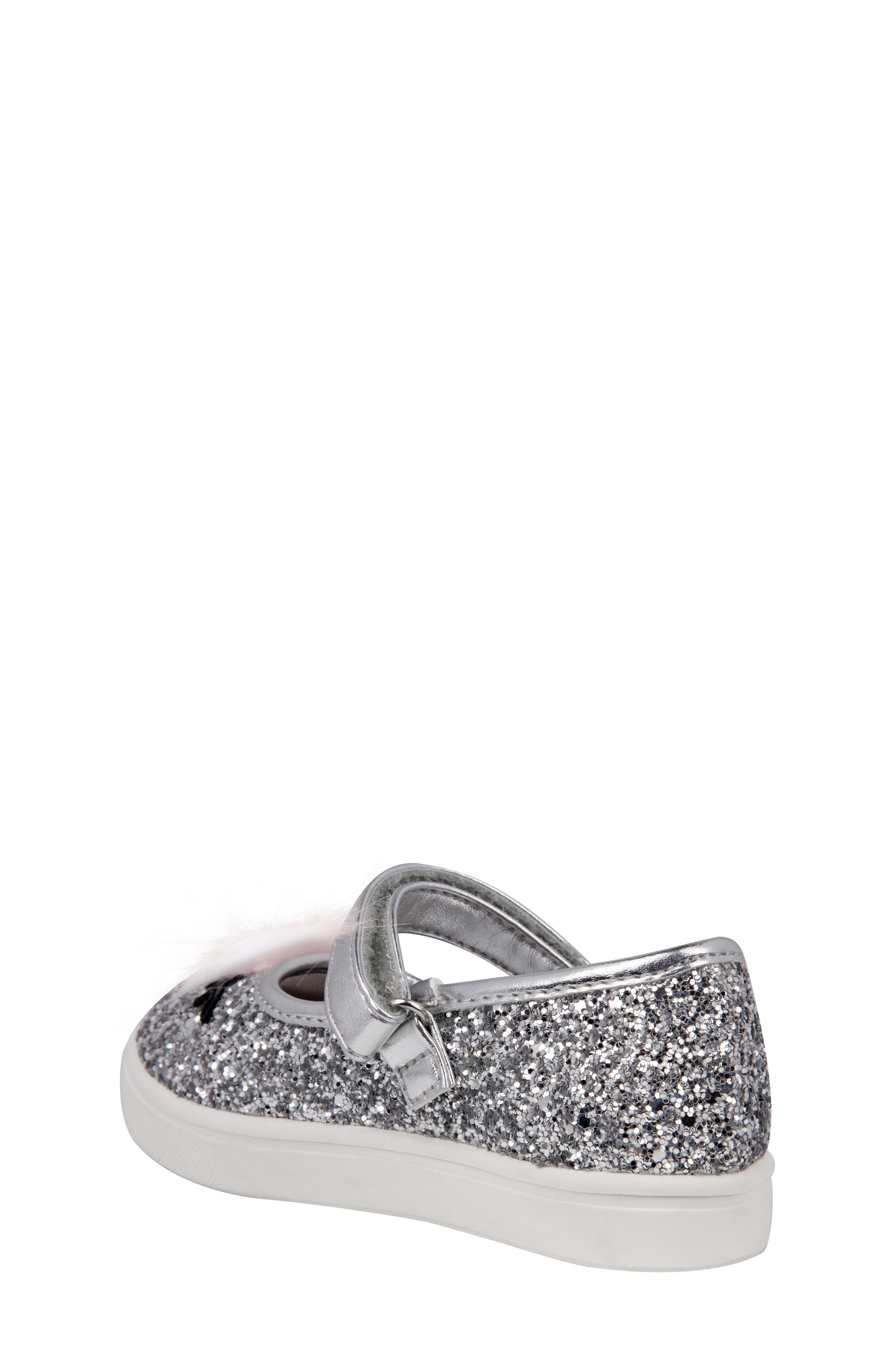 Ragina Faux Fur Glitter Mary Jane Sneaker,                             Alternate thumbnail 2, color,                             Silver Chunky Glitter