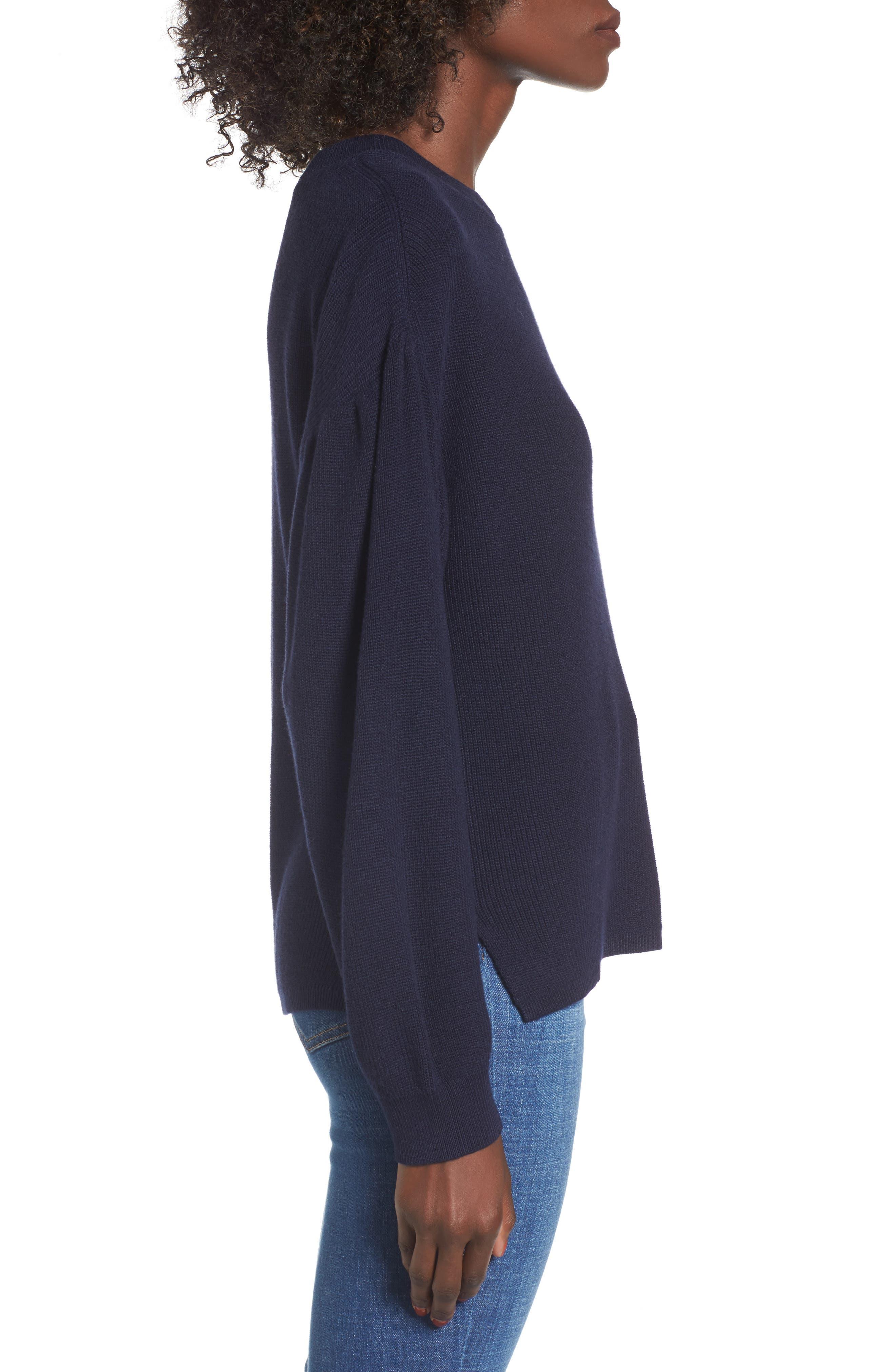 Drape Sleeve Sweater,                             Alternate thumbnail 3, color,                             Navy Evening