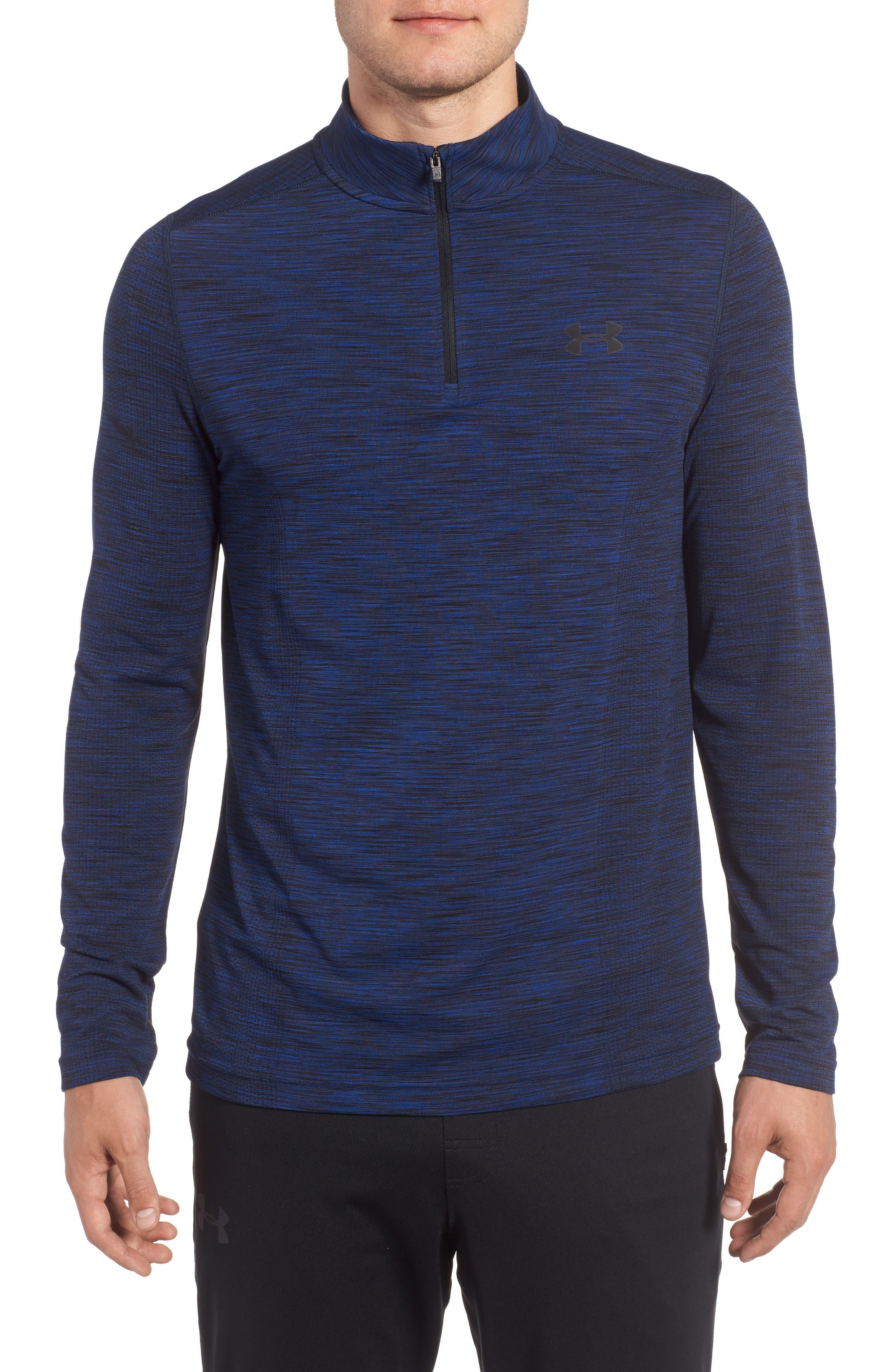 Threadborne Seamless Quarter Zip Pullover,                         Main,                         color, Blue