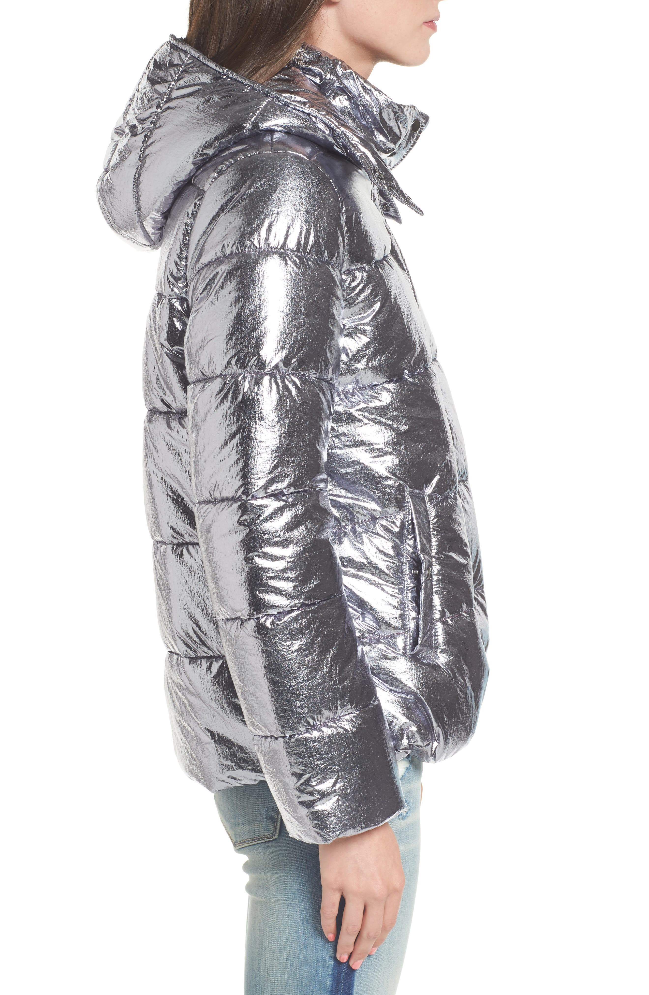 Short Puffer Jacket,                             Alternate thumbnail 3, color,                             Silver