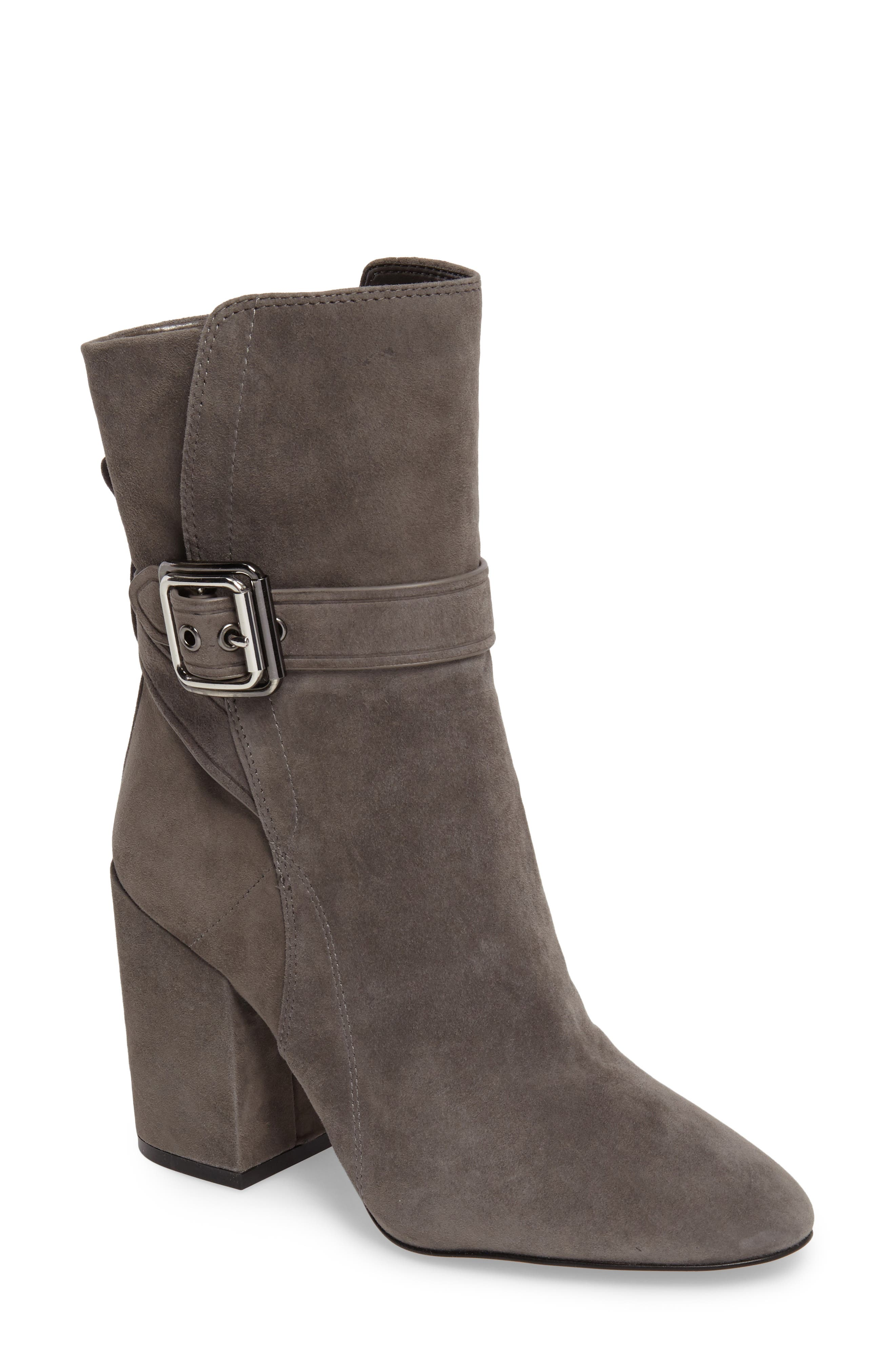 Damefaris Buckle Strap Bootie,                             Main thumbnail 1, color,                             Greystone Suede