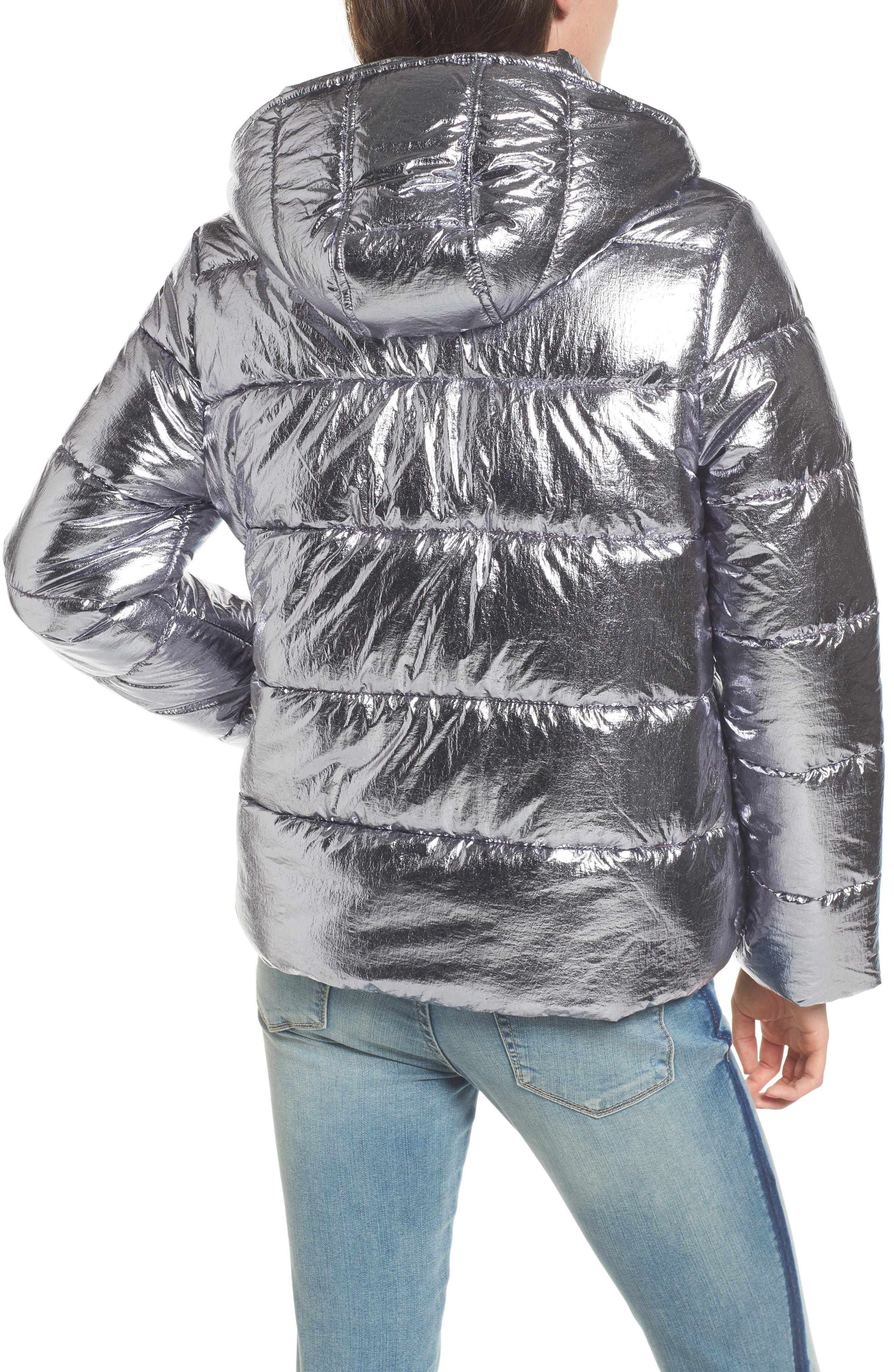 Short Puffer Jacket,                             Alternate thumbnail 2, color,                             Silver