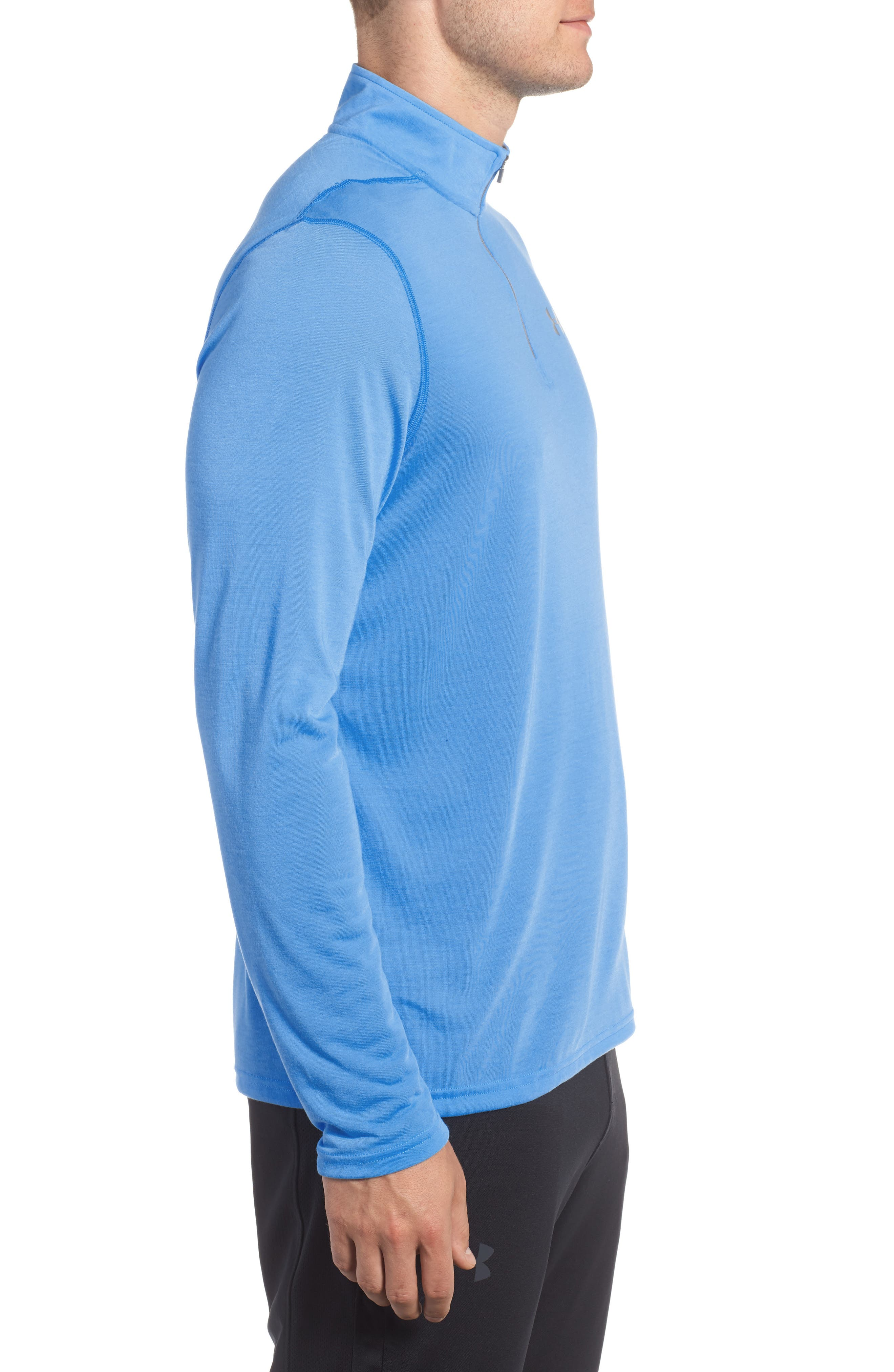 Threadborne Quarter-Zip Performance Shirt,                             Alternate thumbnail 3, color,                             Mako Blue / Graphite