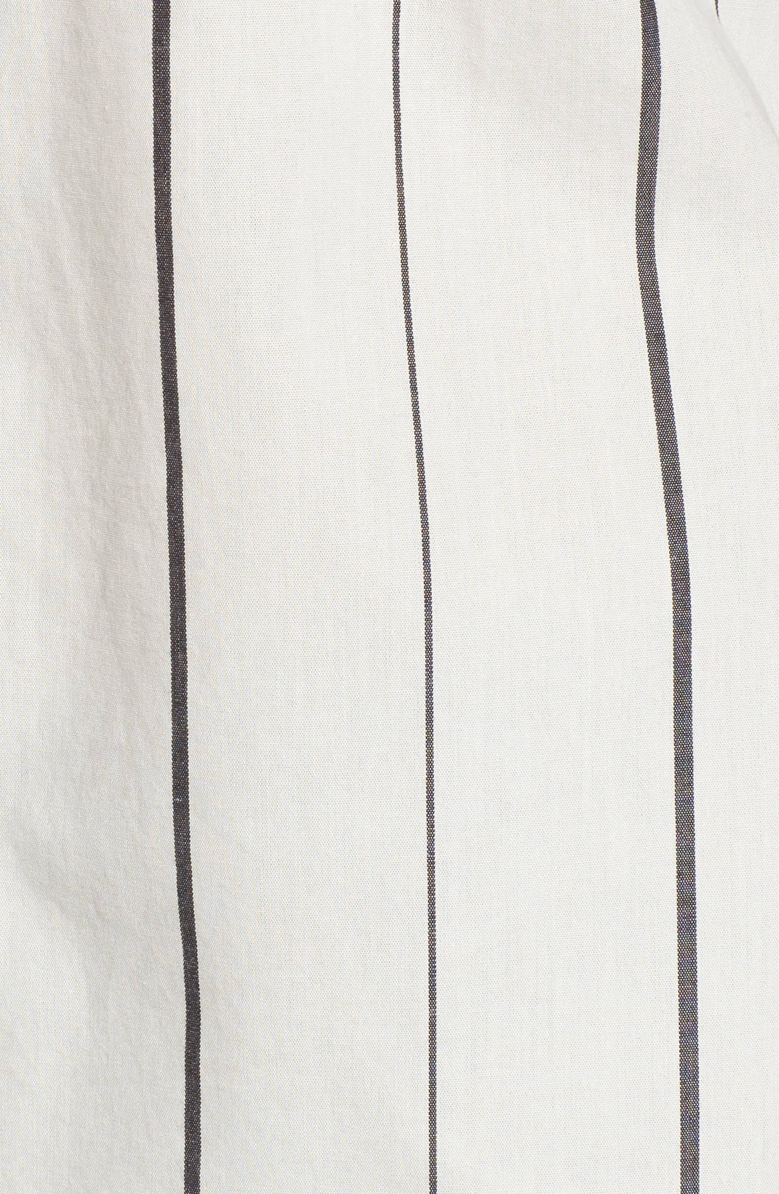 Grosgrain Ruffle Stripe Shirt,                             Alternate thumbnail 5, color,                             Ivory Egret Finn Stripe