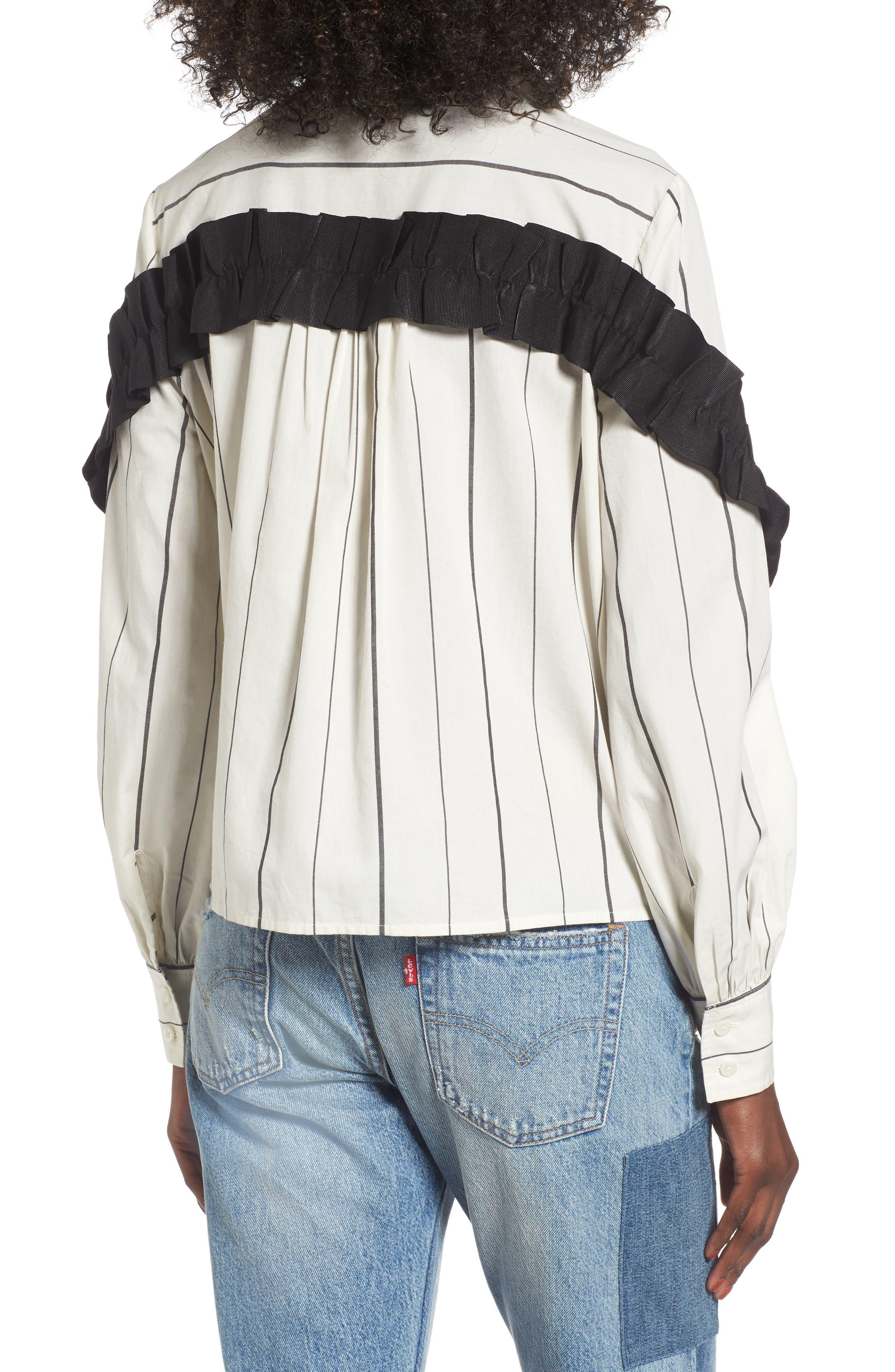 Grosgrain Ruffle Stripe Shirt,                             Alternate thumbnail 2, color,                             Ivory Egret Finn Stripe