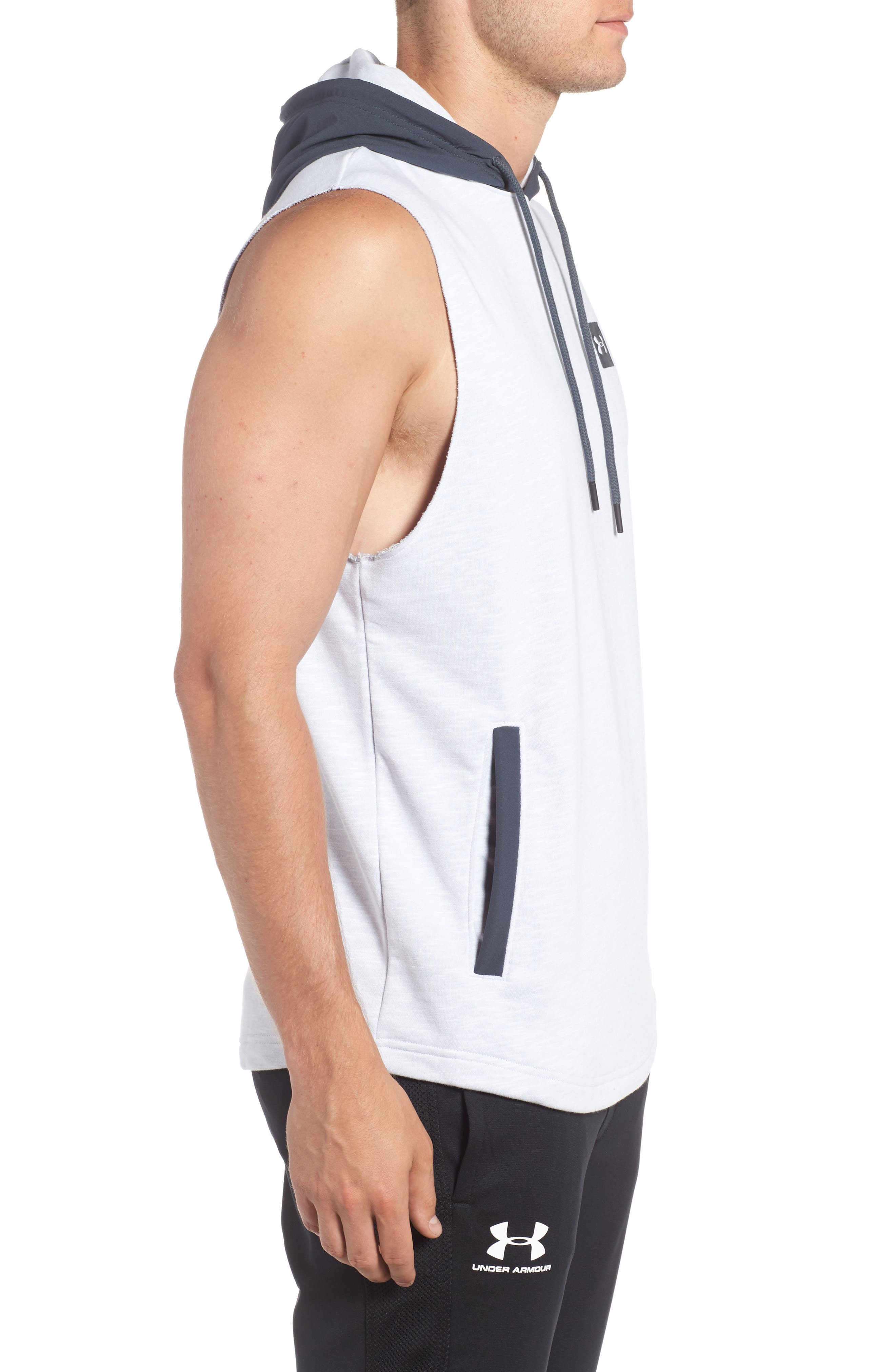 Sportstyle Sleeveless Hoodie,                             Alternate thumbnail 3, color,                             White / Stealth Gray