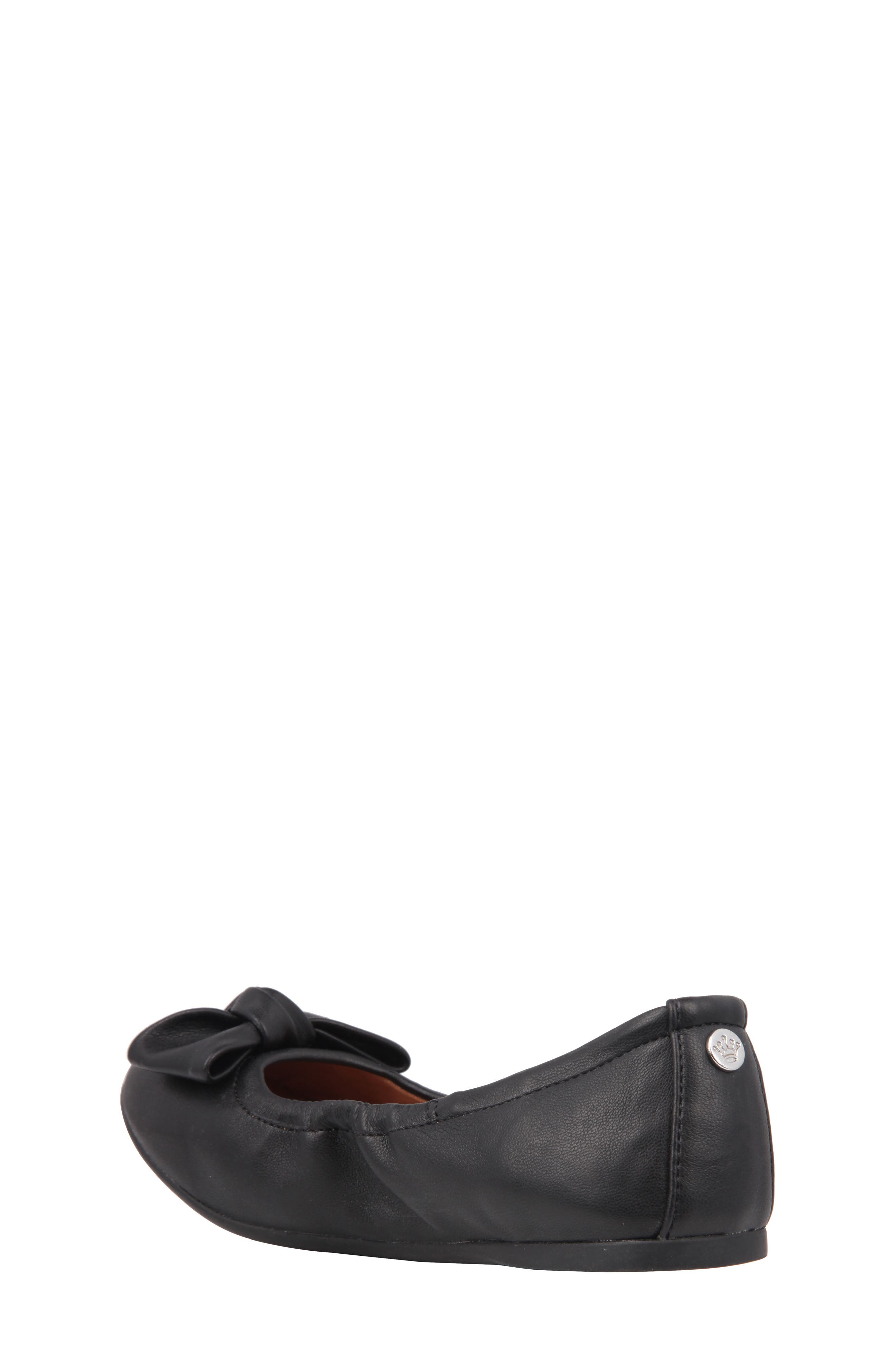 Karla Bow Ballet Flat,                             Alternate thumbnail 2, color,                             Black Smooth Leather