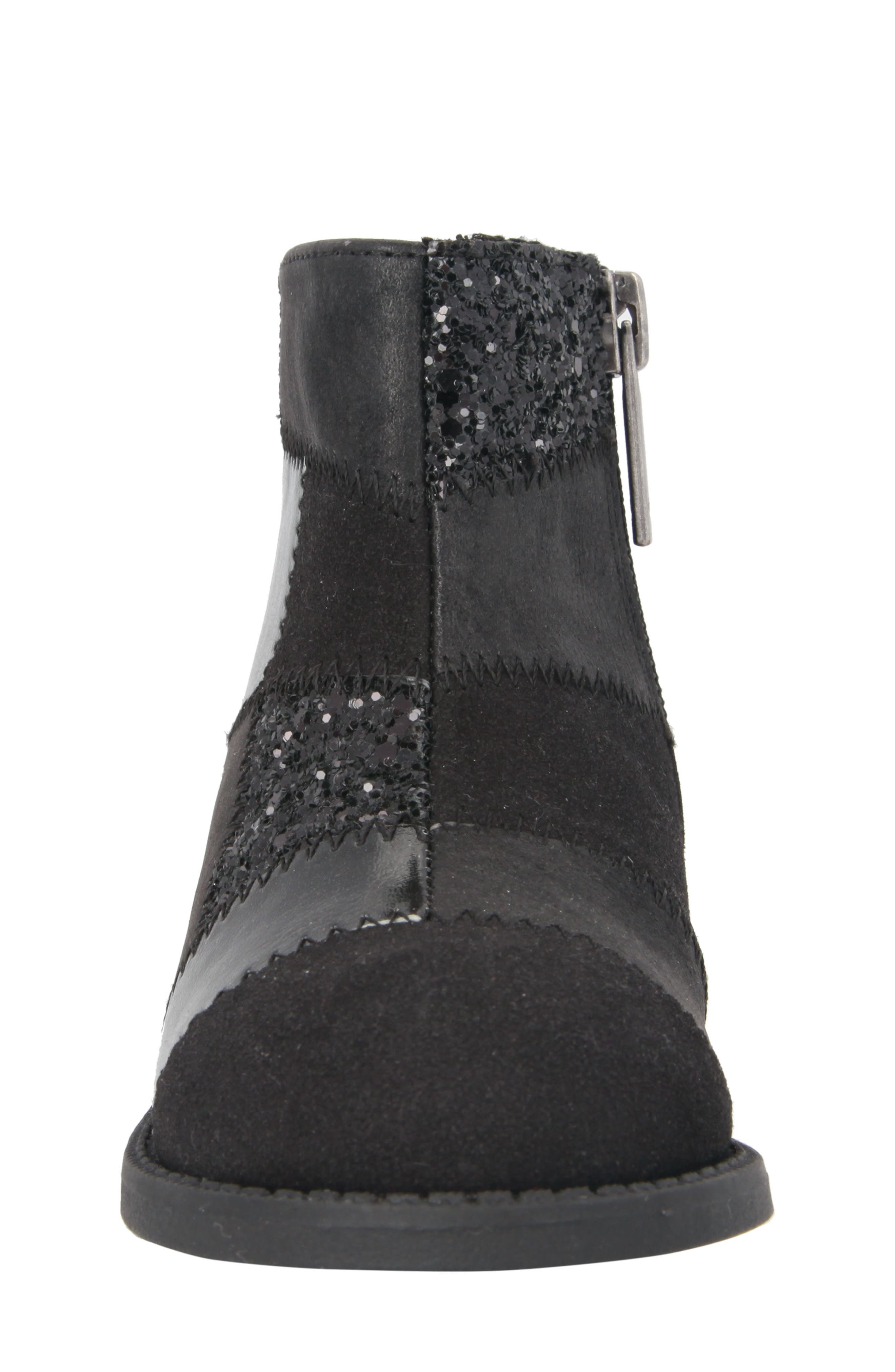 Ines Glittery Patchwork Bootie,                             Alternate thumbnail 4, color,                             Black Metallic/ Black Glitter
