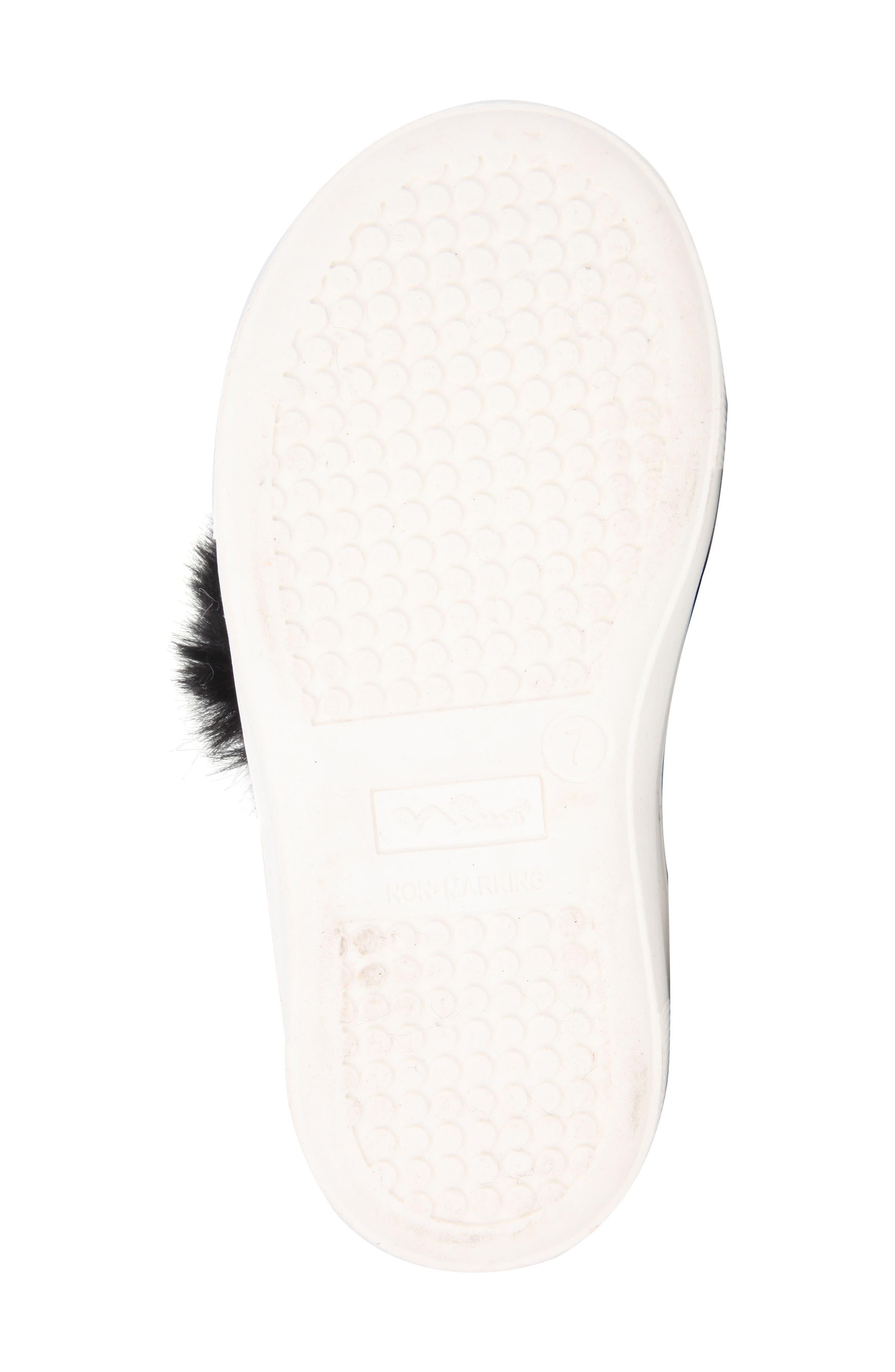 Helen Faux Fur Bootie Sneaker,                             Alternate thumbnail 6, color,                             Black Microsuede