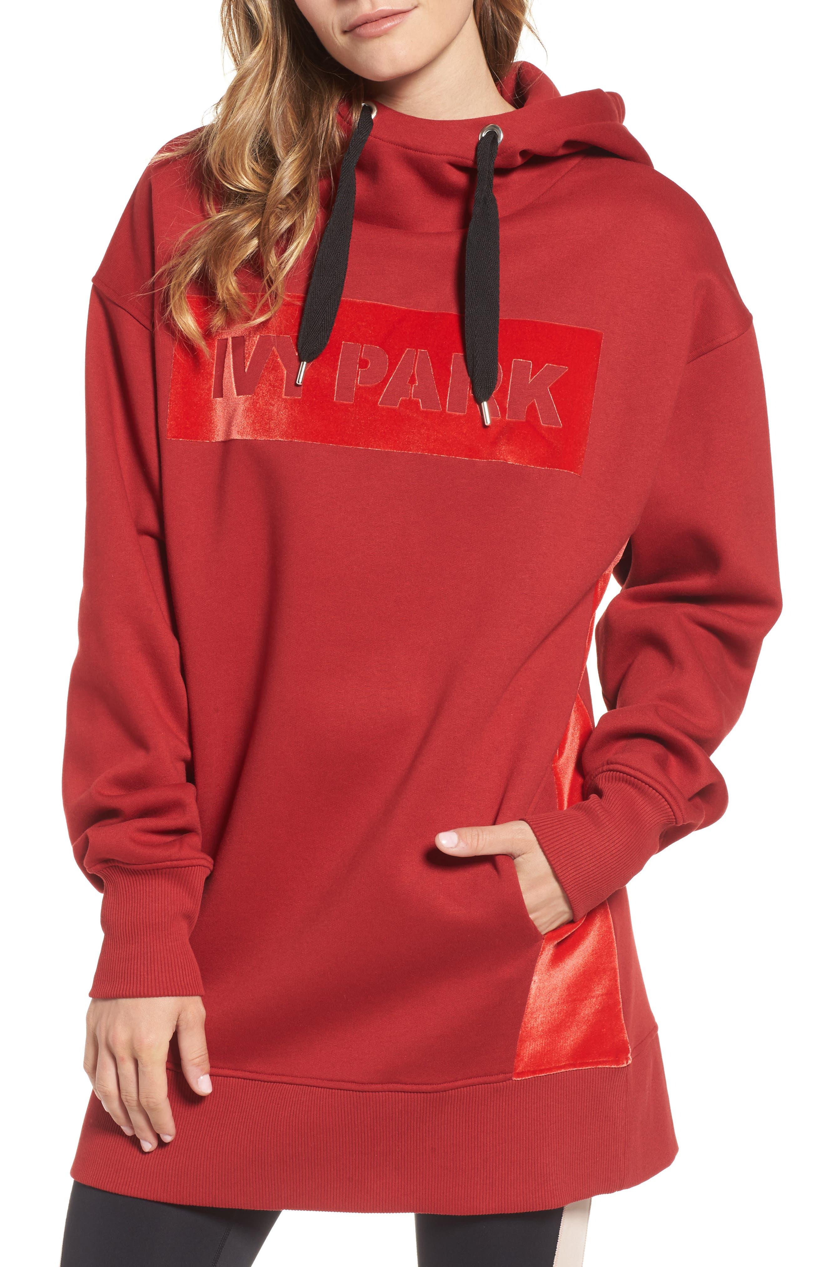 IVY PARK® Oversize Velvet Logo Hoodie Dress