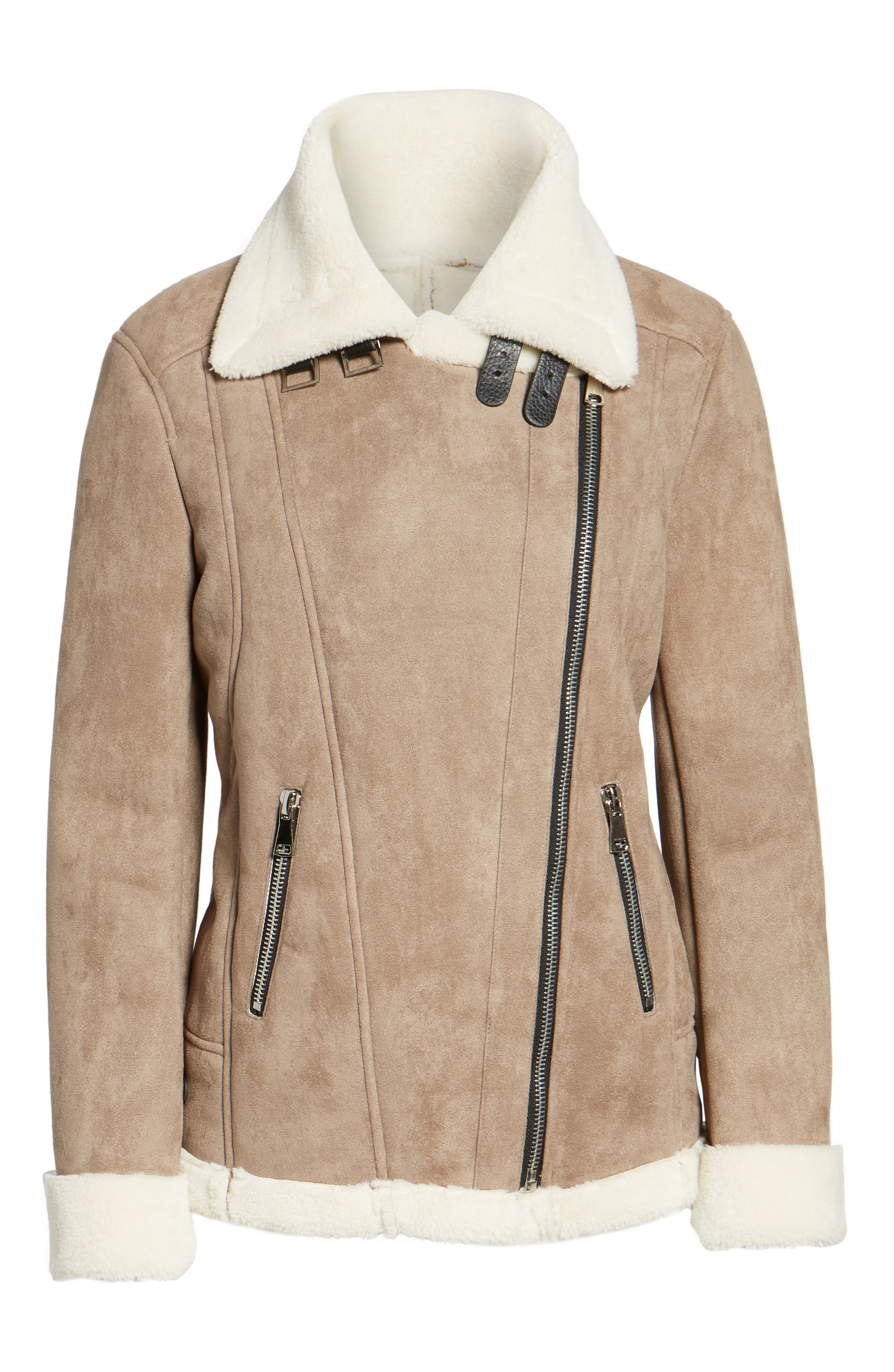 Faux Shearling Oversized Jacket,                             Alternate thumbnail 6, color,                             Beige