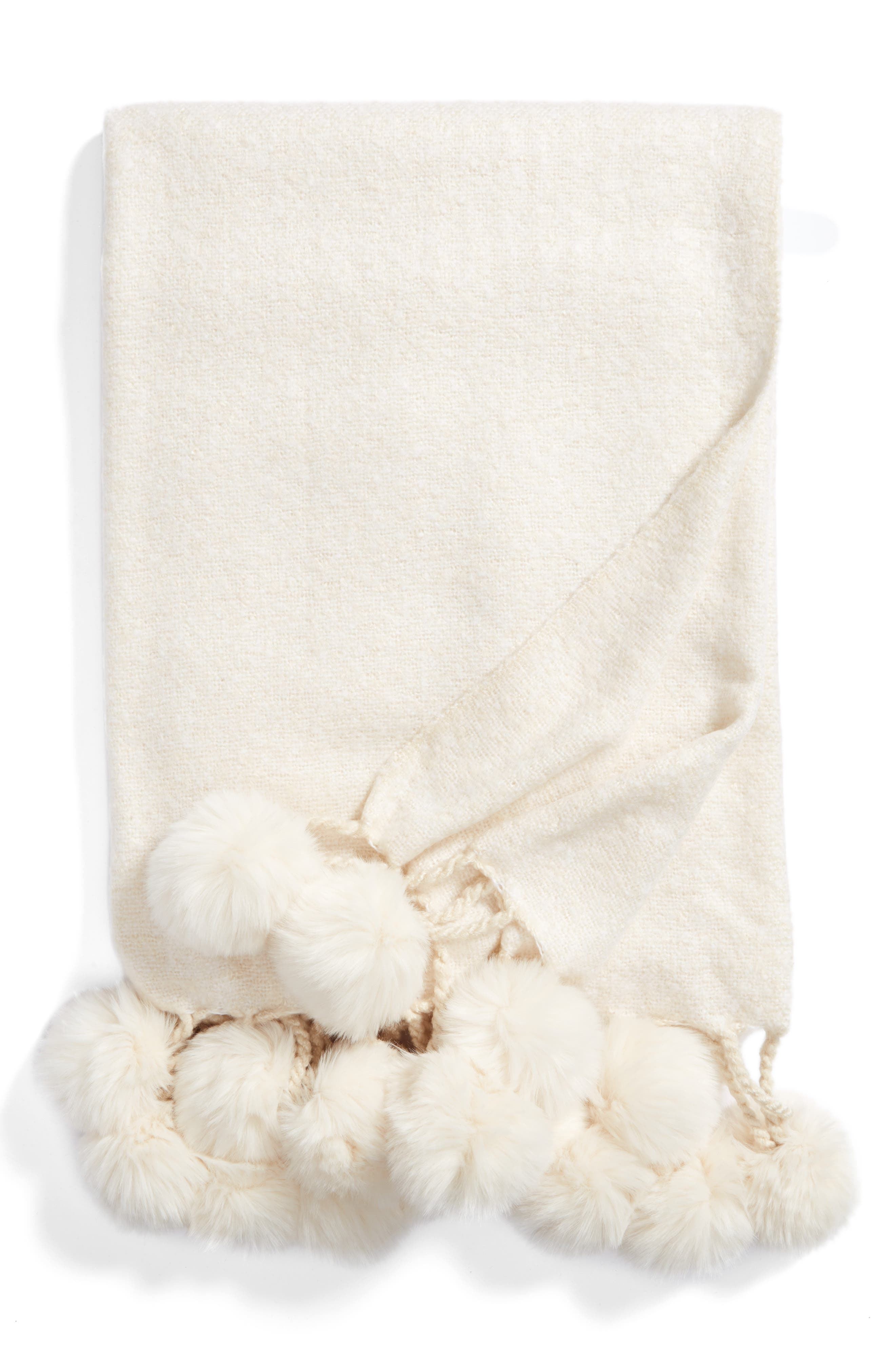 Faux Fur Throw,                         Main,                         color, Ivory