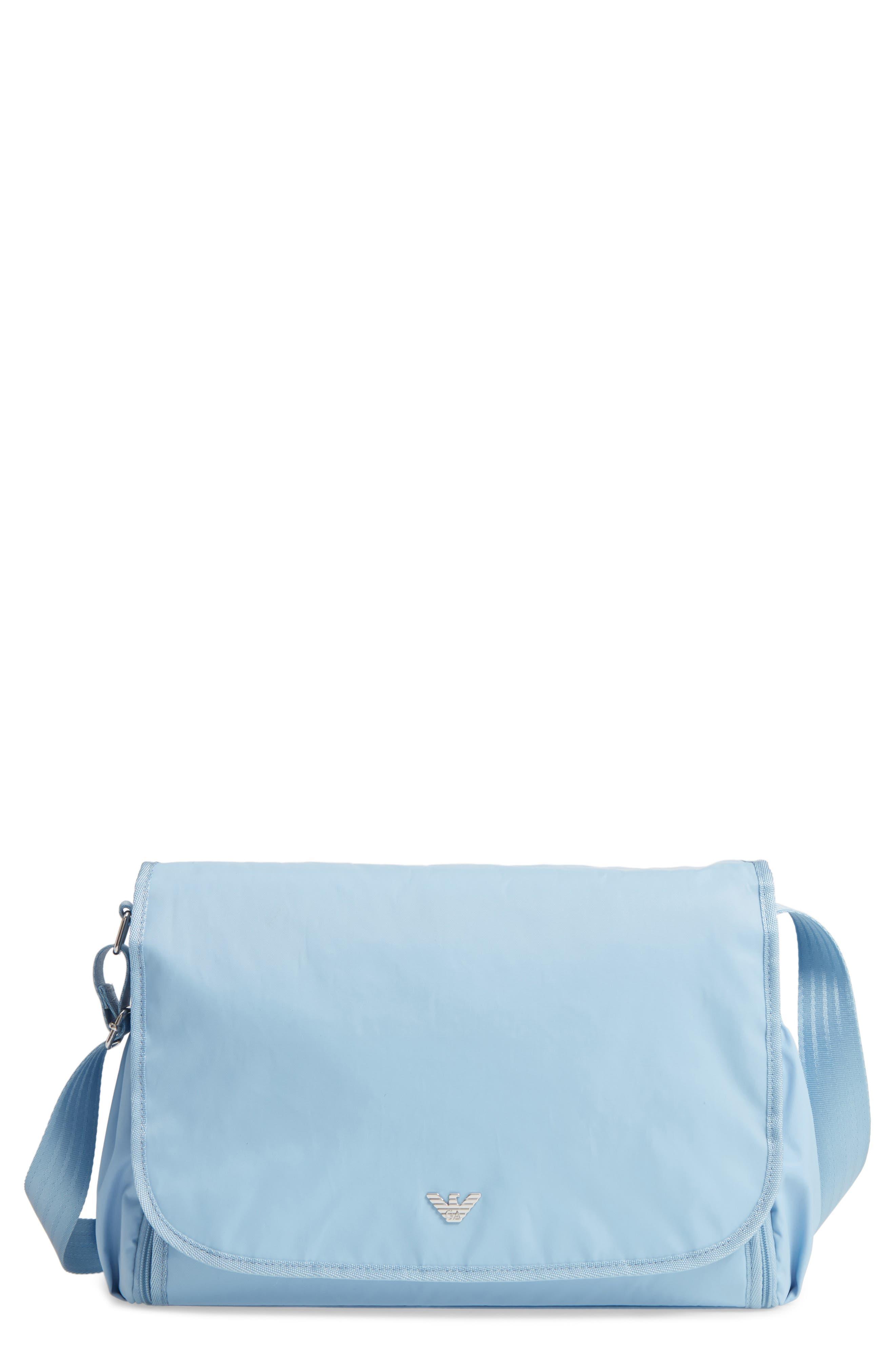 Nylon Messenger Diaper Bag,                         Main,                         color, Light Blue