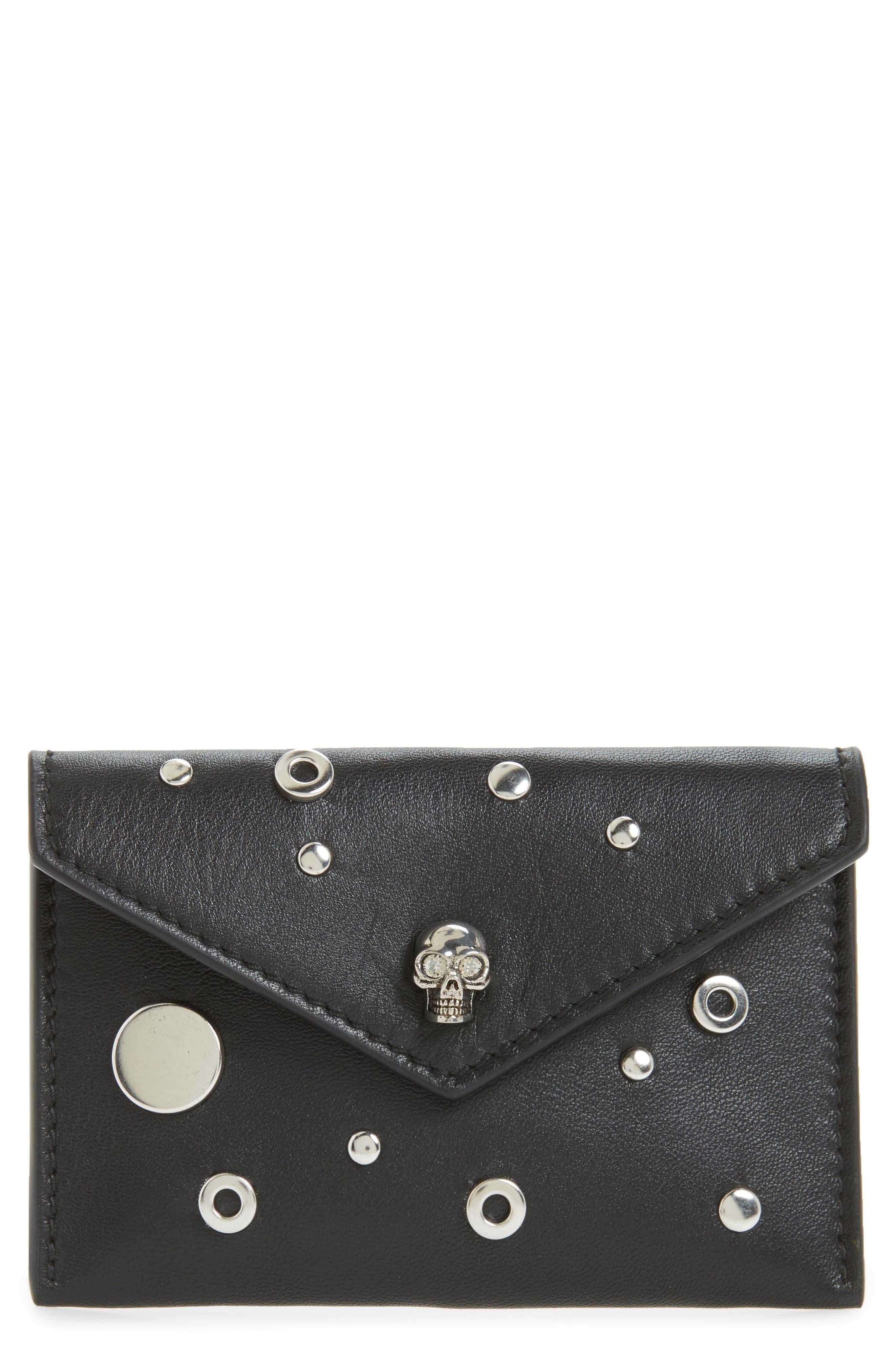 Calfskin Leather Envelope Card Holder,                         Main,                         color, Black