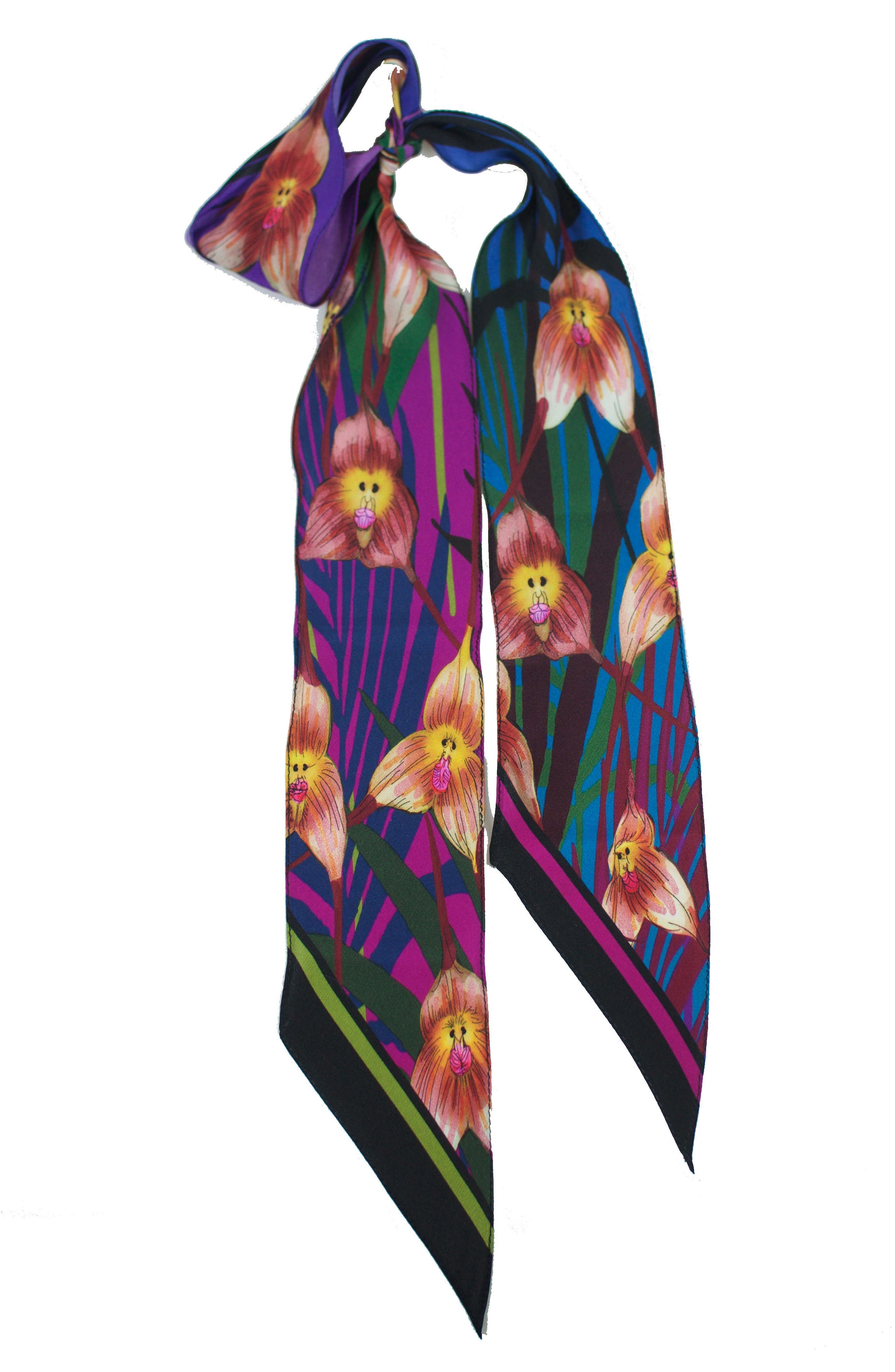 Monkey Orchid Skinny Silk Scarf,                             Alternate thumbnail 3, color,                             Fuchsia